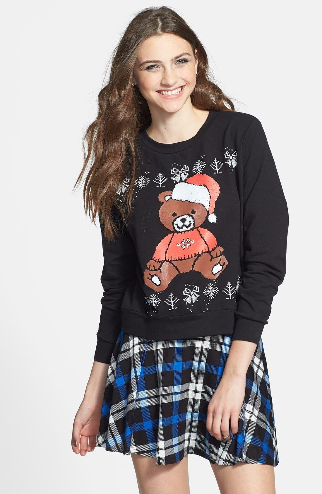 Alternate Image 1 Selected - Starling 'Santa Bear' Crop Sweatshirt (Juniors) (Online Only)
