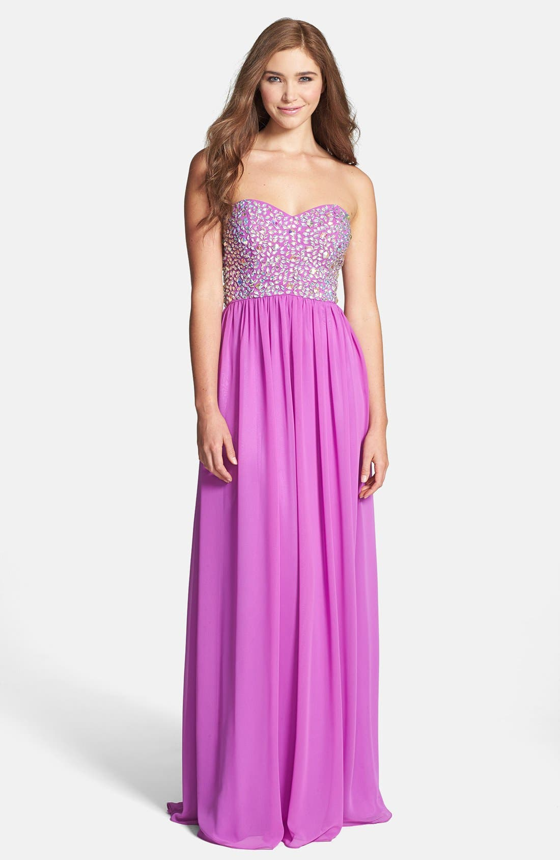 Main Image - Xscape Embellished Bodice Strapless Chiffon Gown