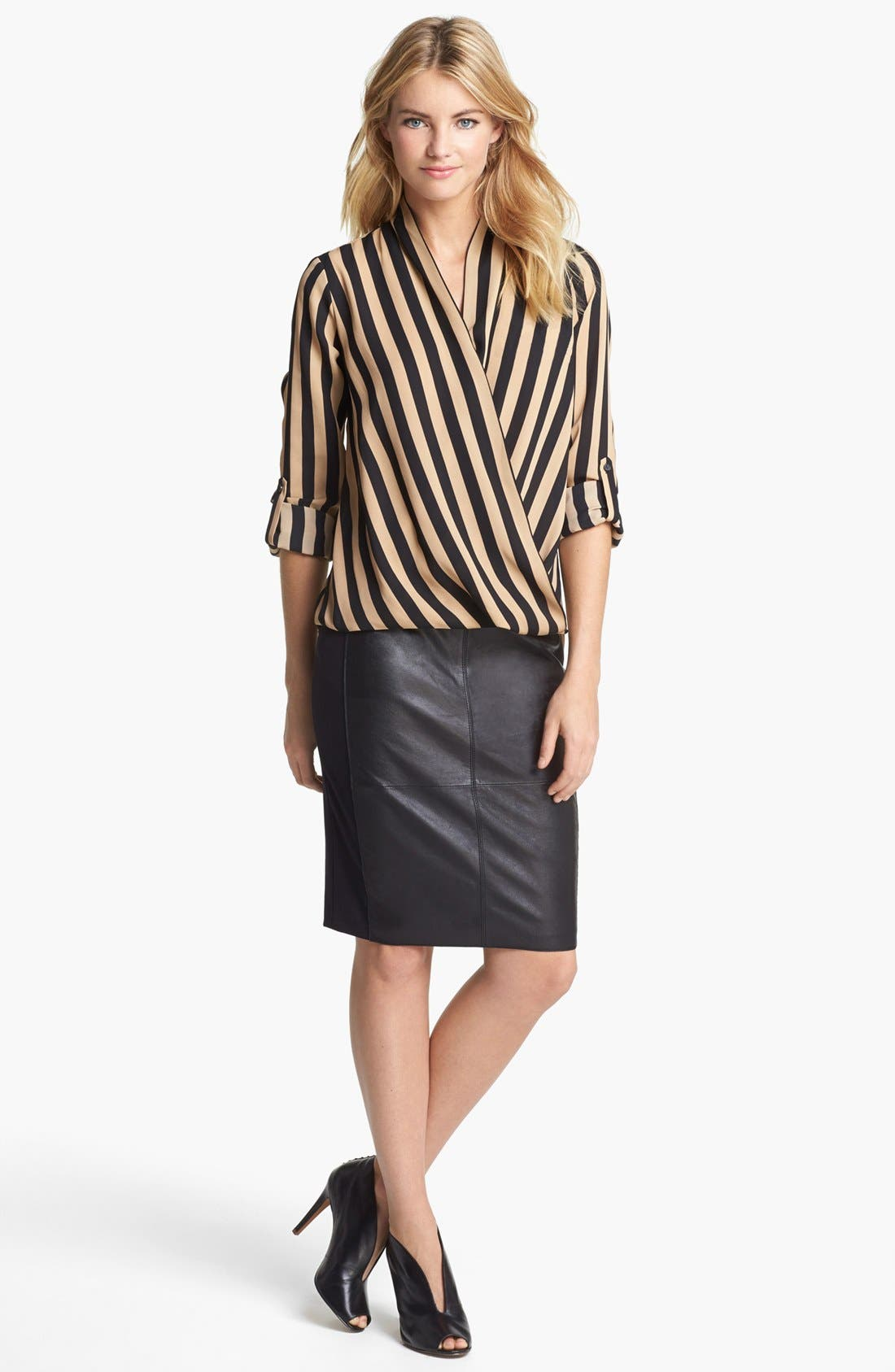 Alternate Image 1 Selected - Pleione Stripe Blouse & Halogen® Pencil Skirt