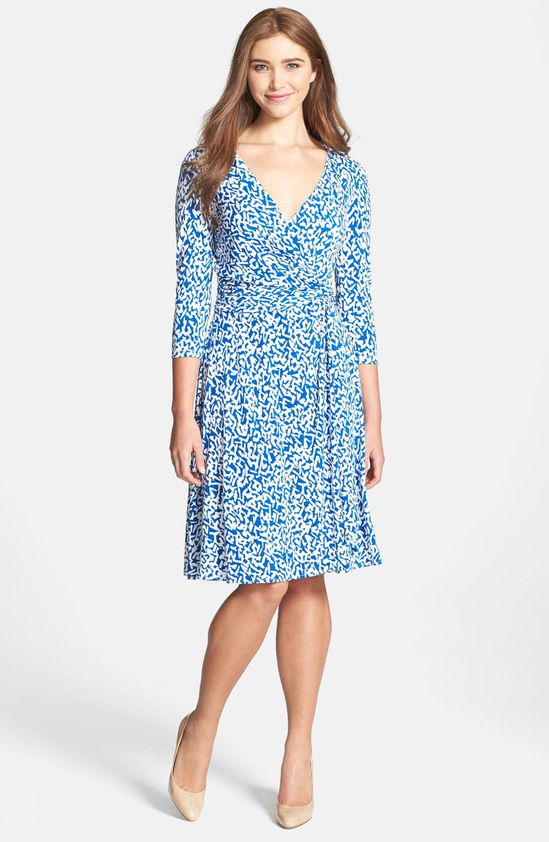 Alternate Image 1 Selected - Maggy London Print Matte Jersey Faux Wrap Dress (Petite)