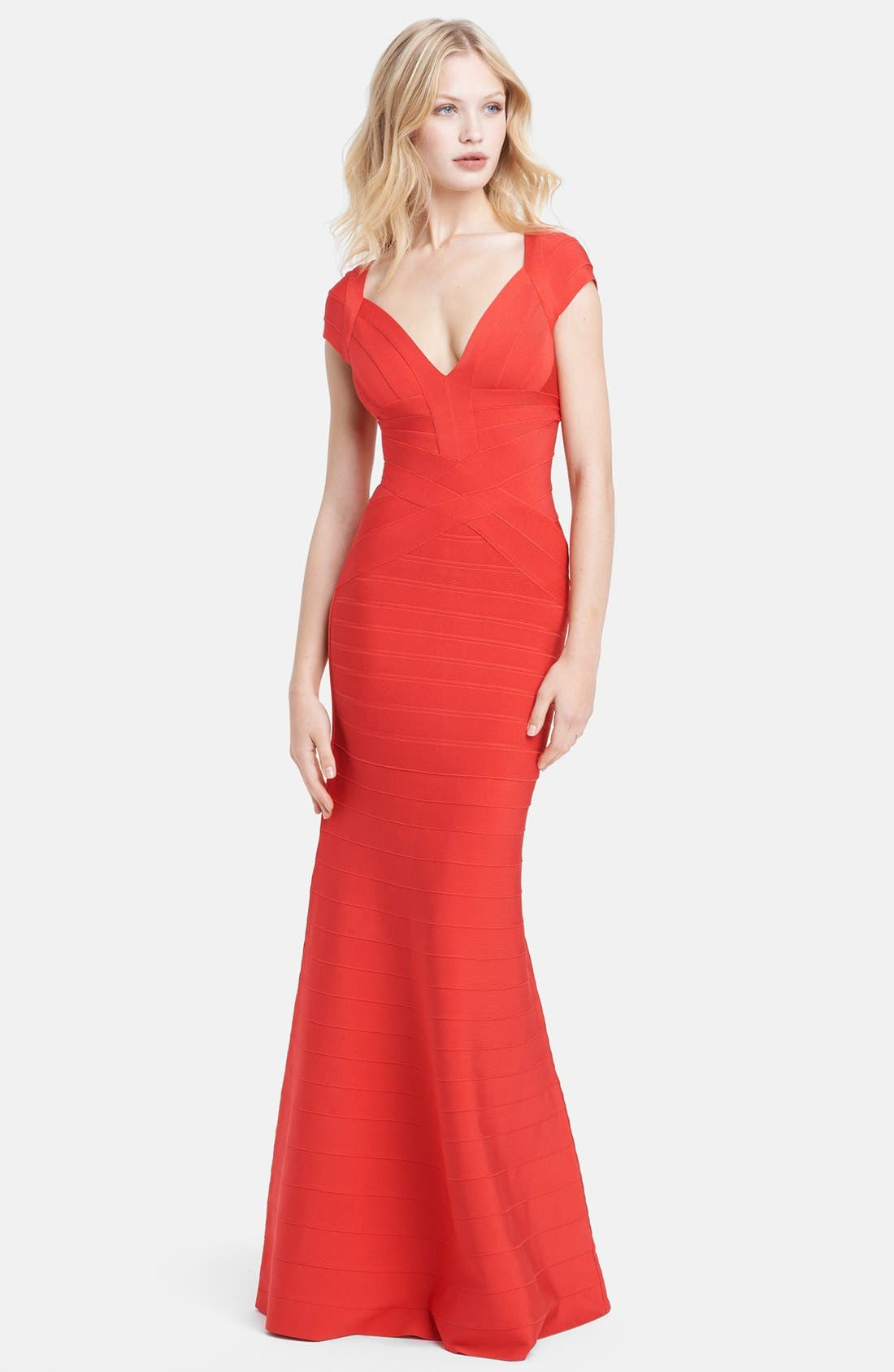 Main Image - Herve Leger Cap Sleeve Bandage Gown