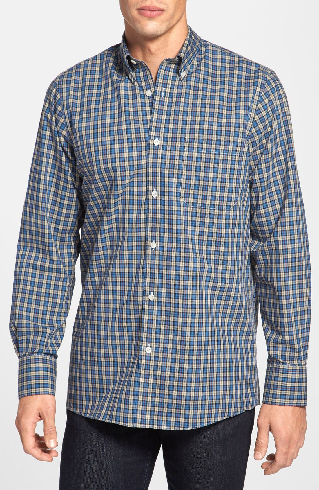 Main Image - Nordstrom Smartcare™ Regular Fit Plaid Sport Shirt