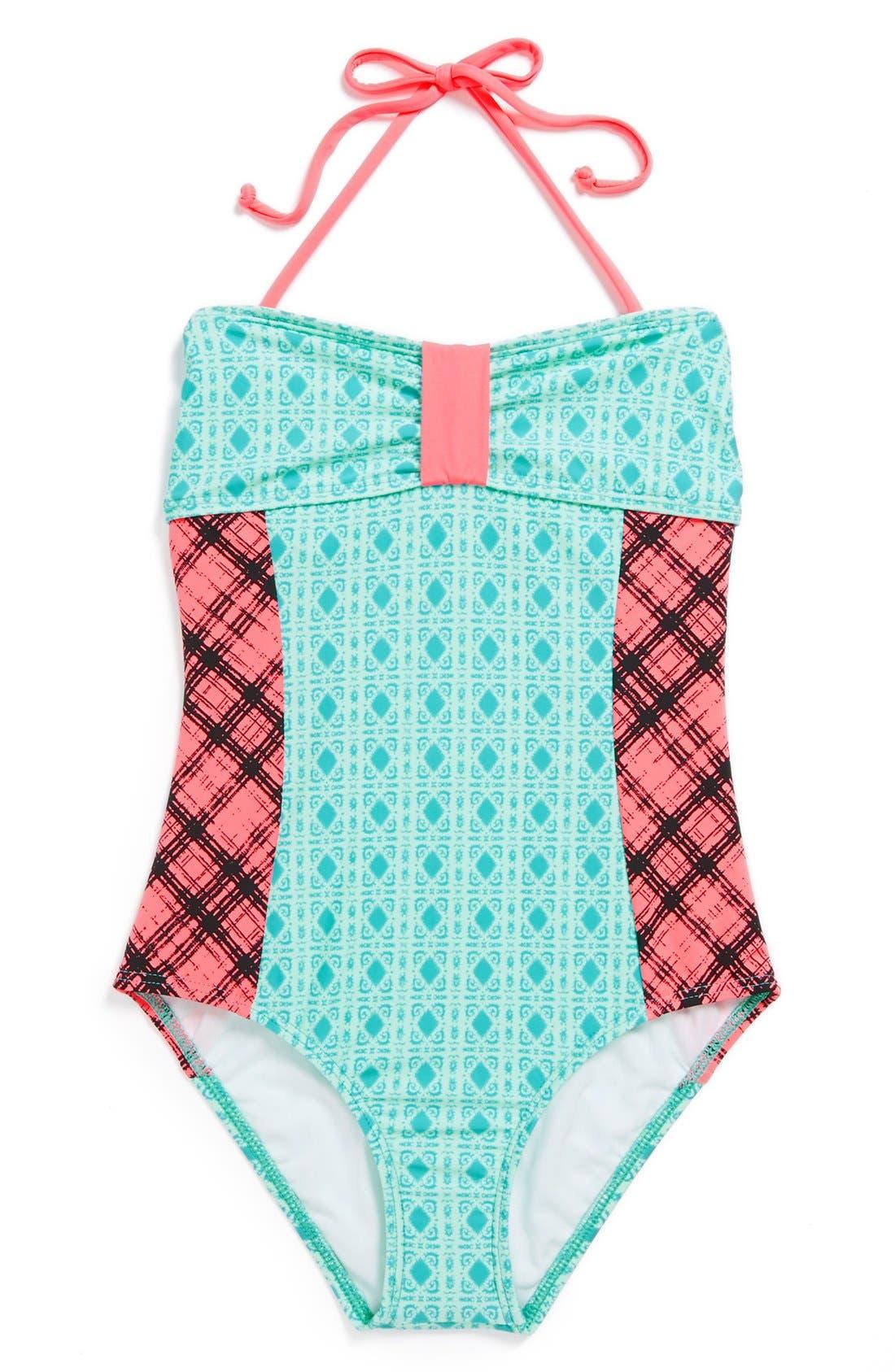 Alternate Image 1 Selected - Ella Moss Mixed Print One-Piece Swimsuit (Big Girls)