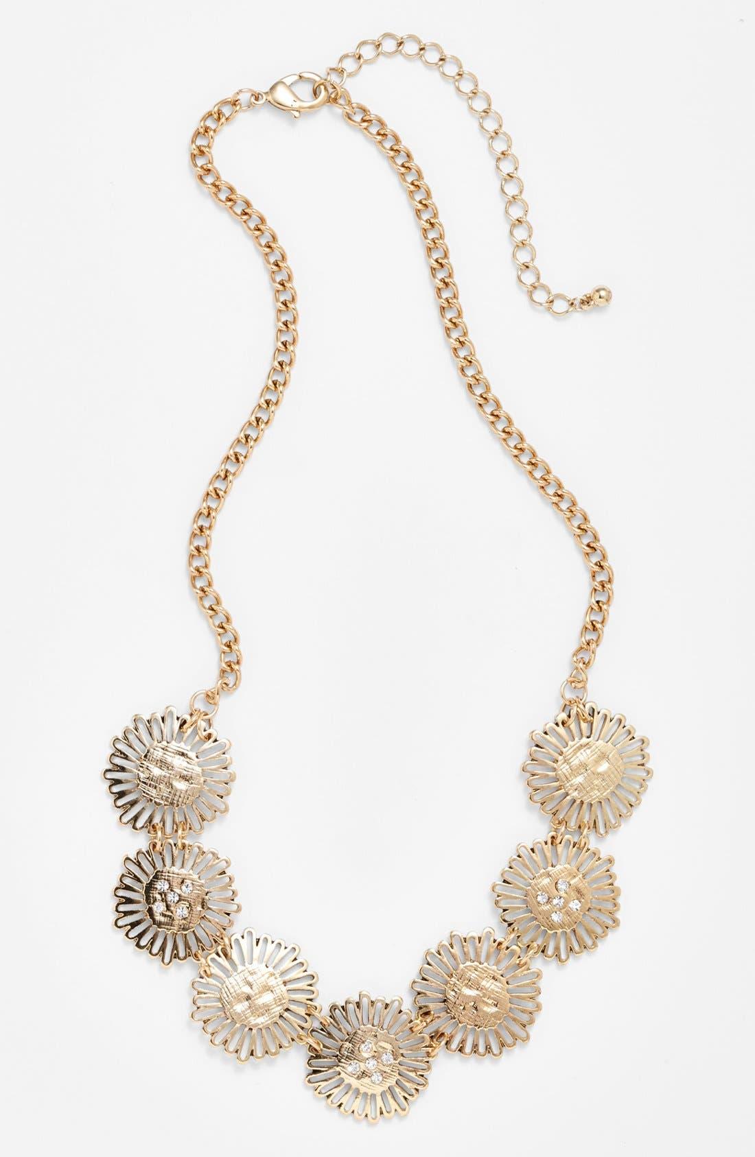 Alternate Image 1 Selected - Stephan & Co. Metal Flower Necklace (Juniors)