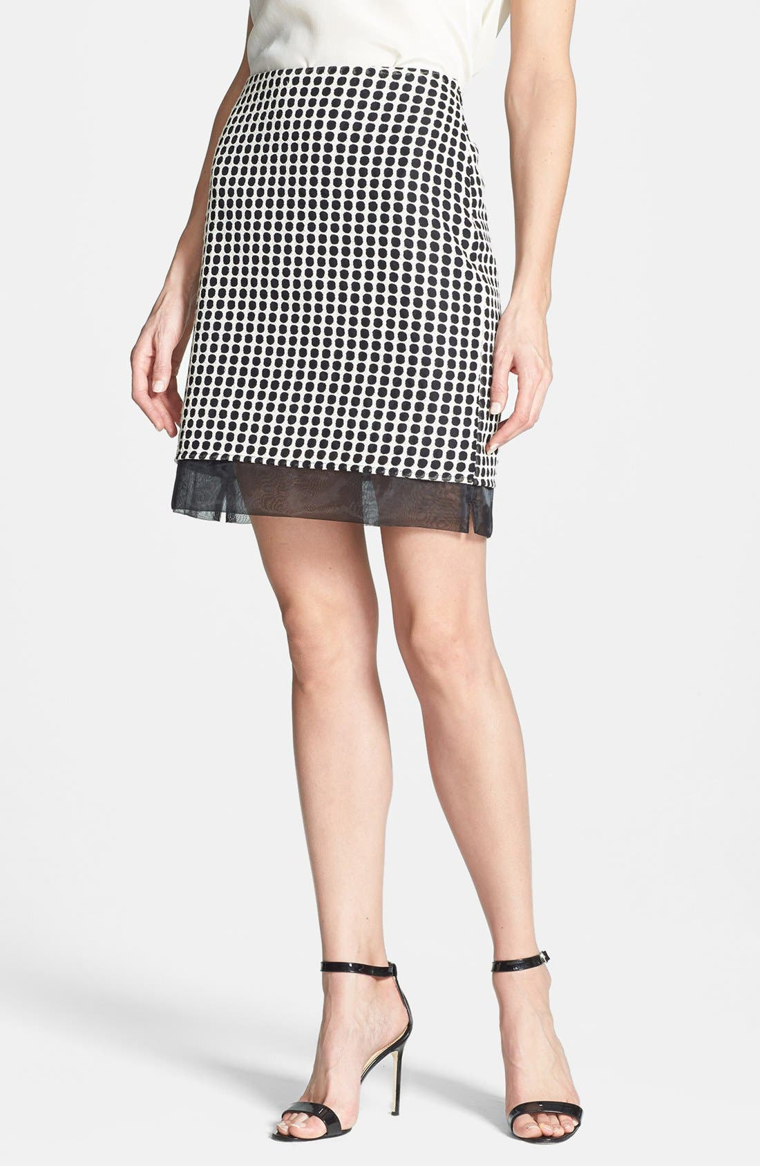Alternate Image 1 Selected - Vince Camuto Two-Tone Dot Print Organza Skirt