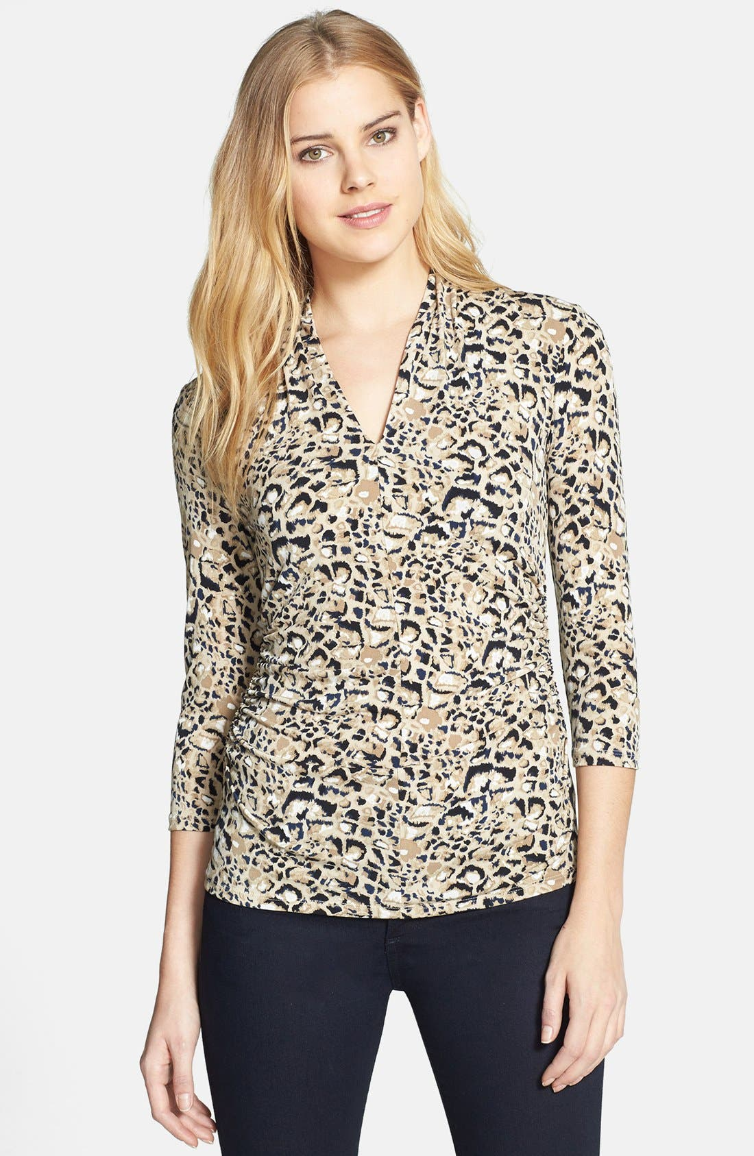 Alternate Image 1 Selected - Vince Camuto 'Animal Rocks' V-Neck Top