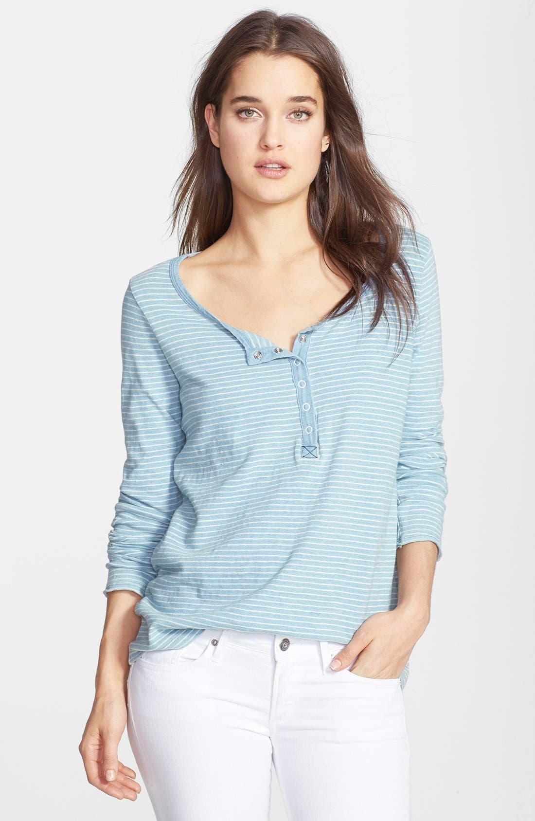 Main Image - Splendid Stripe Snap Button Cotton Henley