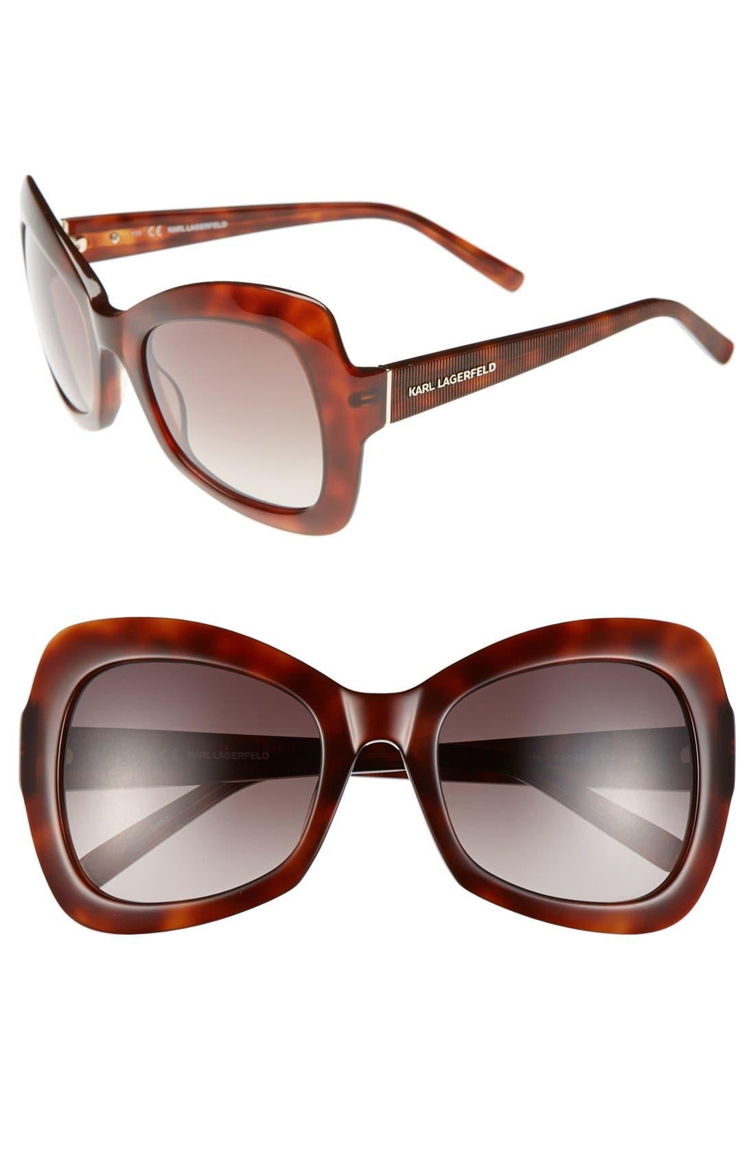 Main Image - Karl Lagerfeld 53mm Oversized Butterfly Sunglasses