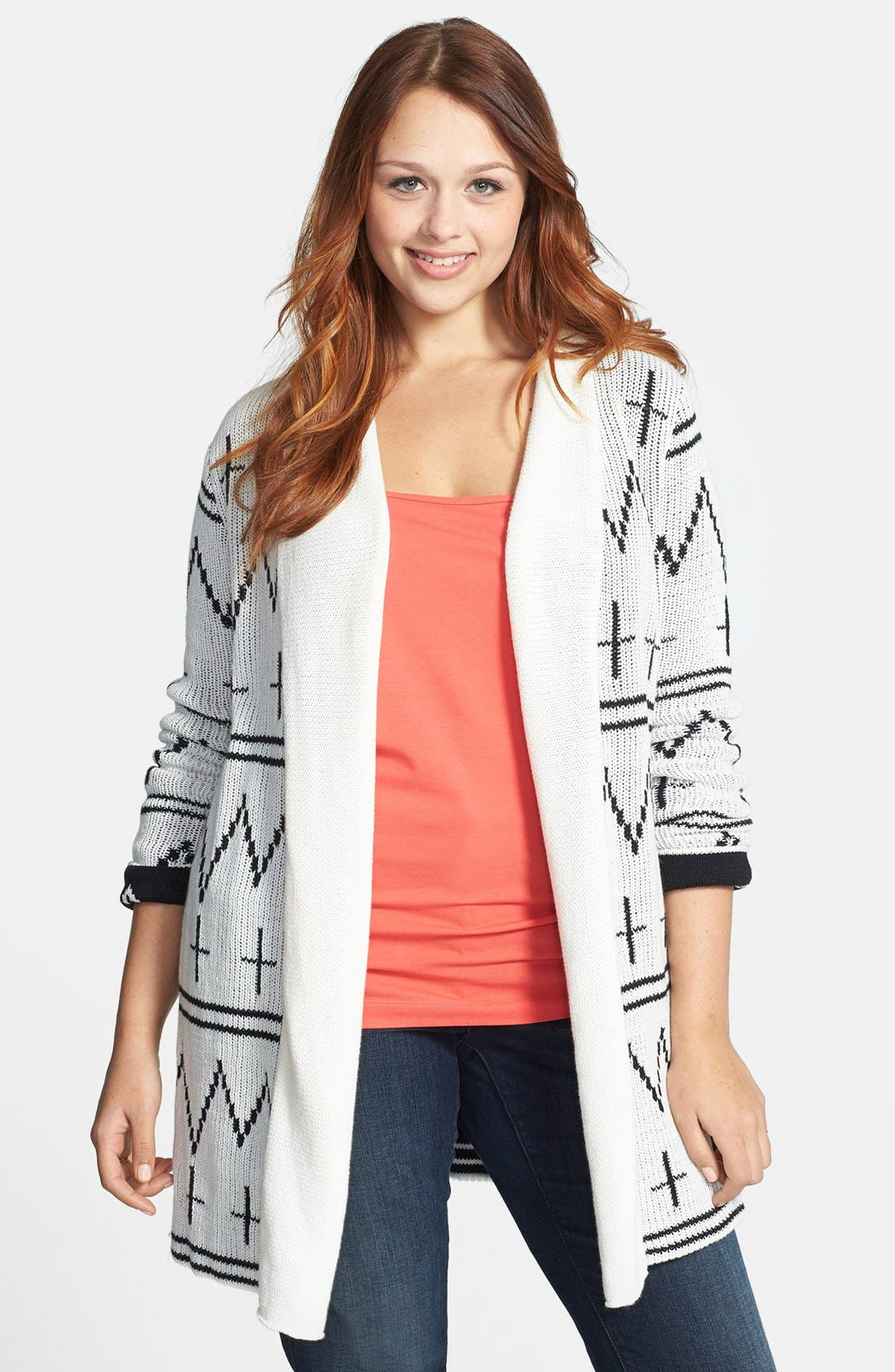 Alternate Image 1 Selected - BB Dakota Shawl Collar Cardigan (Plus Size)