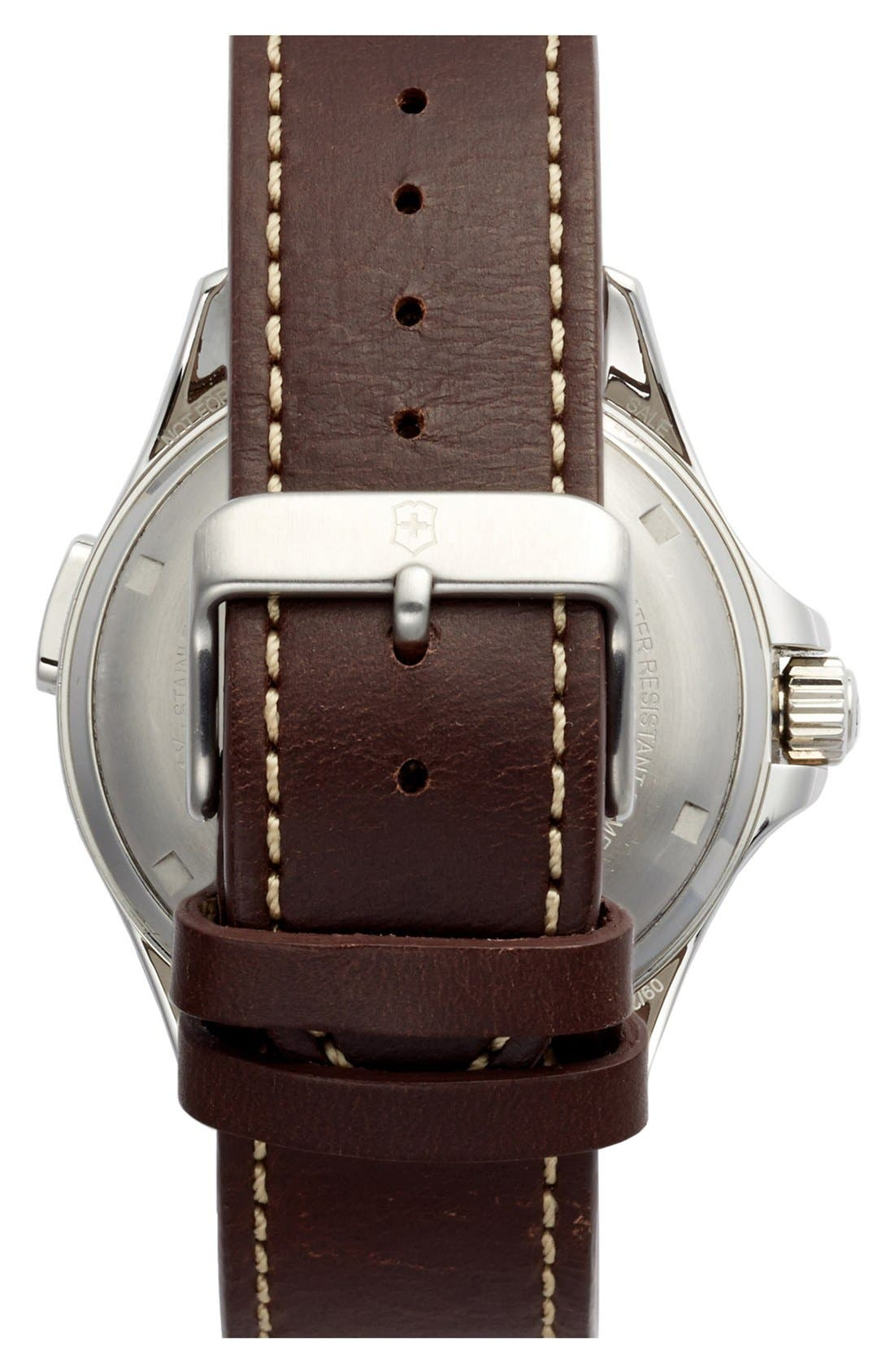 Alternate Image 2  - Victorinox Swiss Army® 'Night Vision' Leather Strap Watch, 42mm