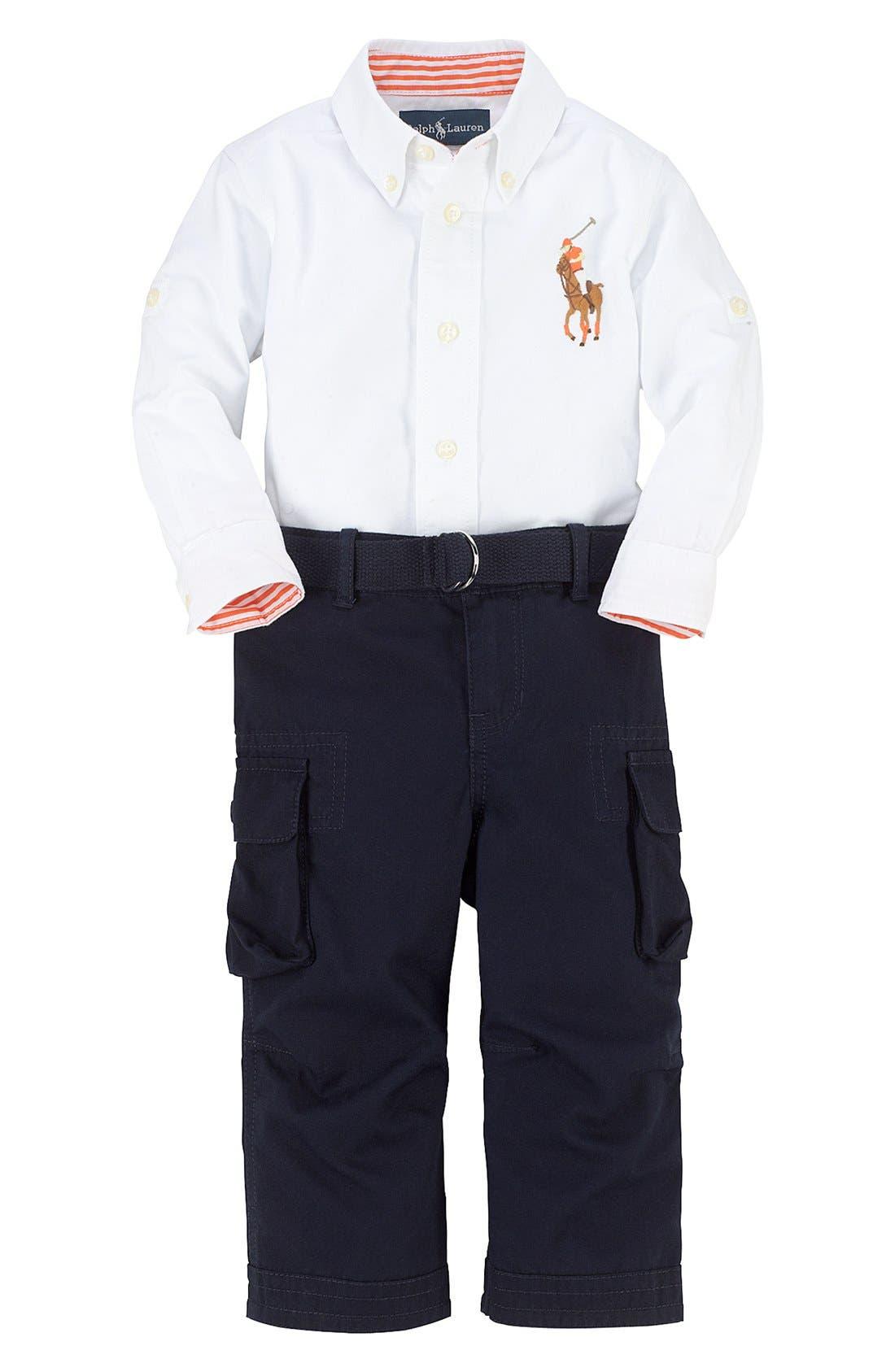 Main Image - Ralph Lauren Woven Shirt & Cargo Pants (Baby Boys)