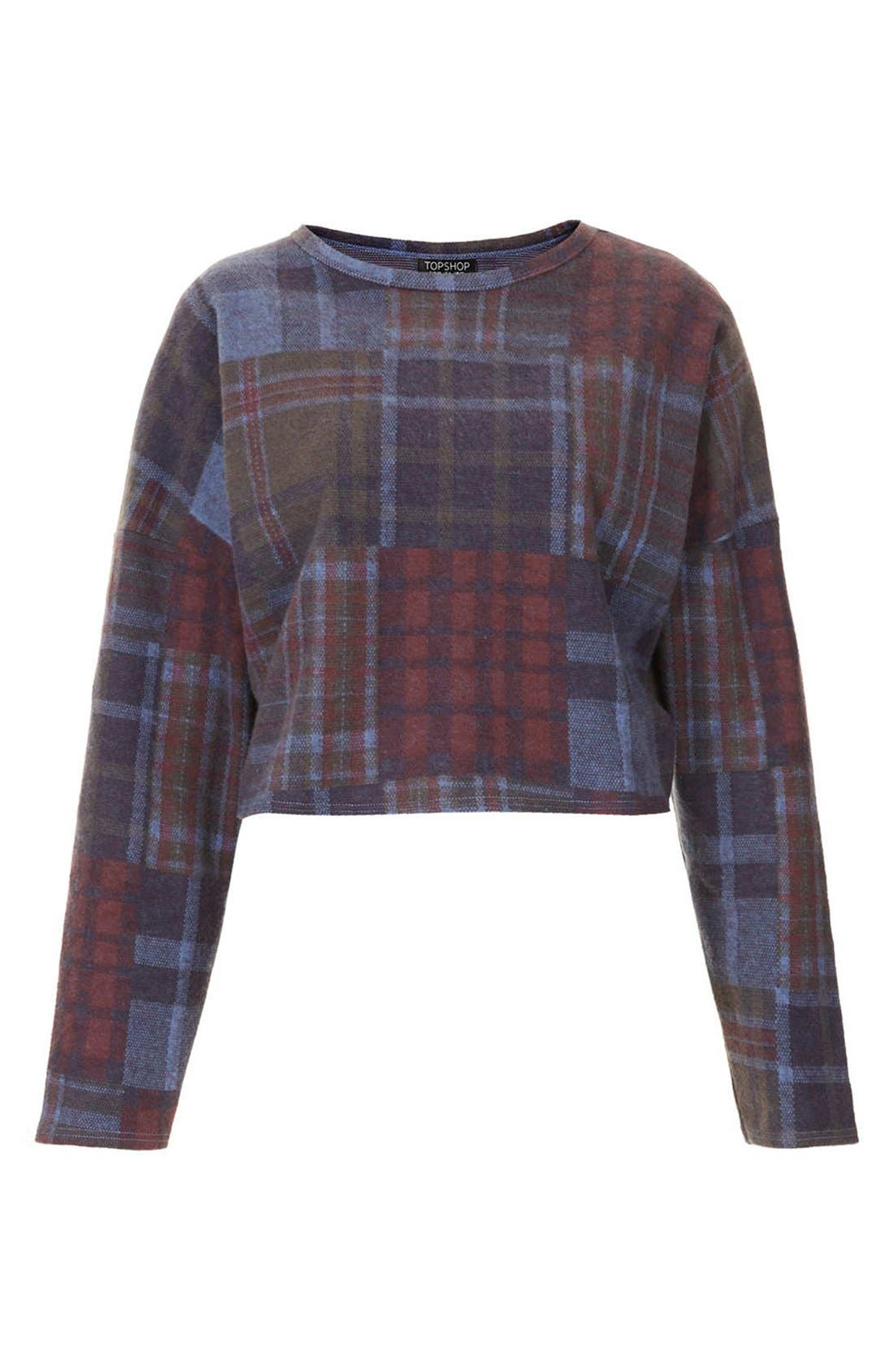 Alternate Image 3  - Topshop Boxy Check Print Cotton Sweatshirt
