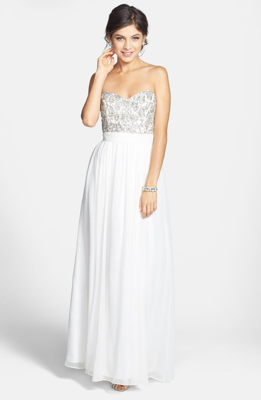 Main Image - Sean Collection Beaded Bodice Silk Georgette Gown