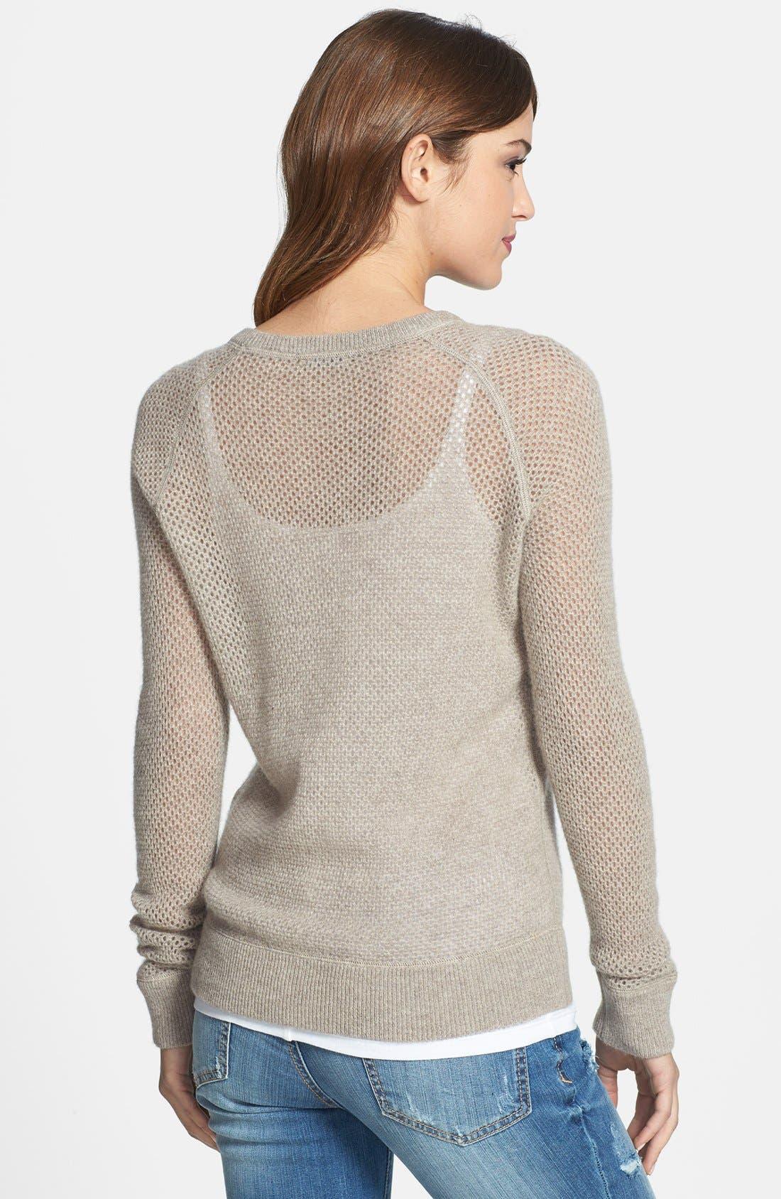 Alternate Image 2  - Halogen® Open Stitch Cashmere Sweater