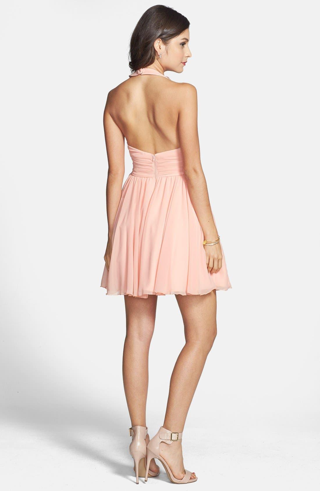 Alternate Image 2  - Way-In Embellished Neck Chiffon Halter Dress (Juniors) (Online Only)
