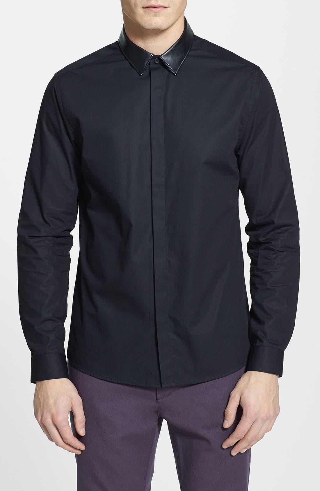 Alternate Image 1 Selected - Topman Slim Fit Faux Leather Collar Shirt