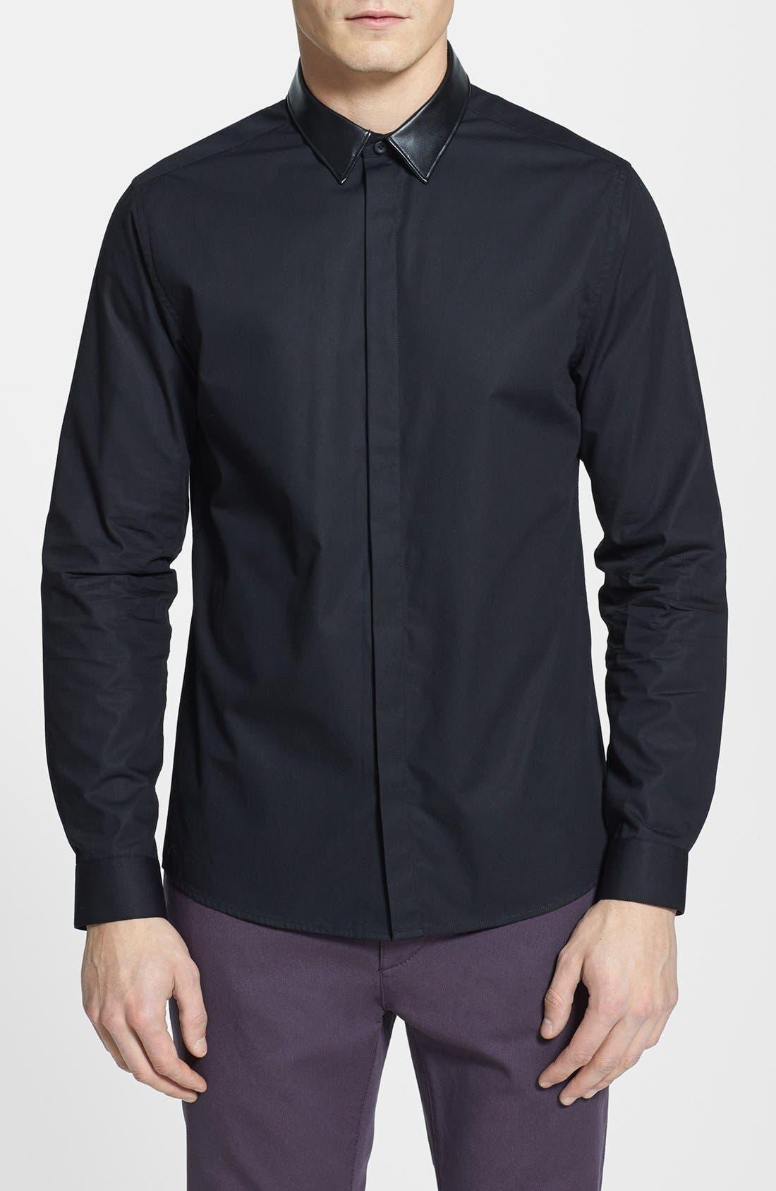 Main Image - Topman Slim Fit Faux Leather Collar Shirt