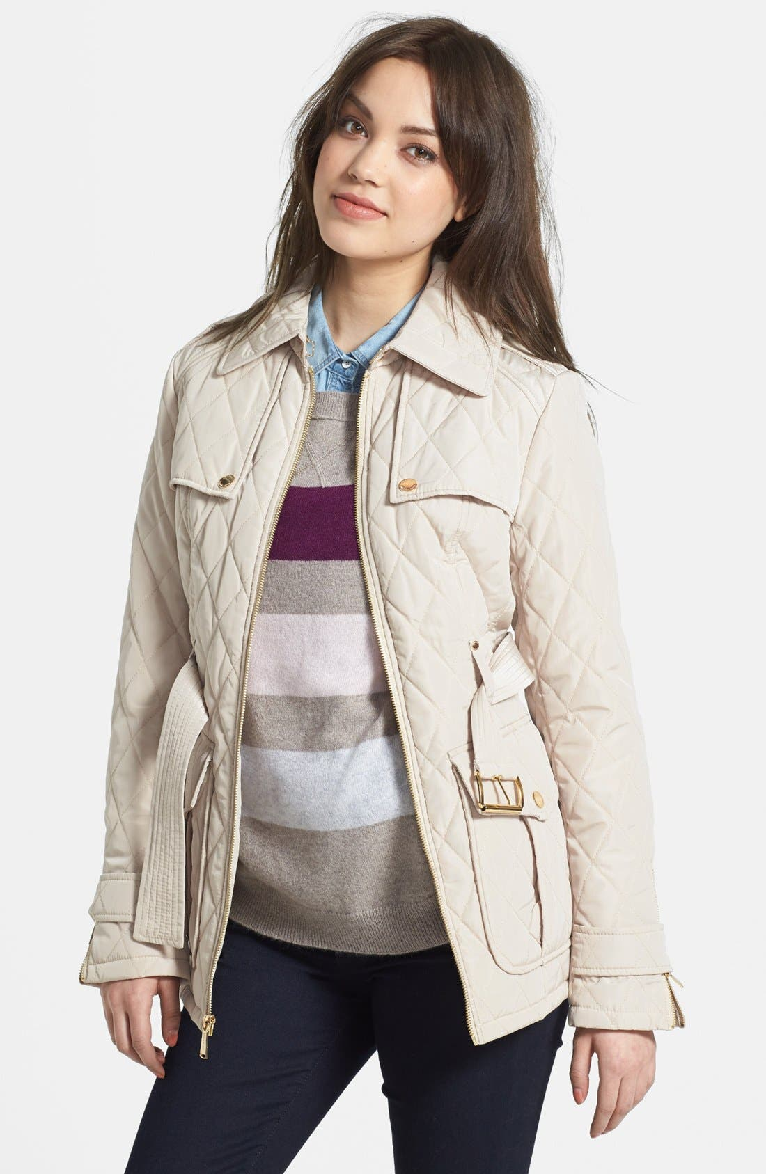 Alternate Image 1 Selected - MICHAEL Michael Kors Belted Quilted Jacket