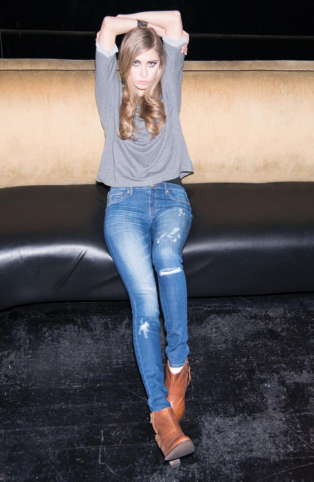 Alternate Image 4  - Dittos 'Jessica' Distressed Low Rise Skinny Jeans (Calypso)