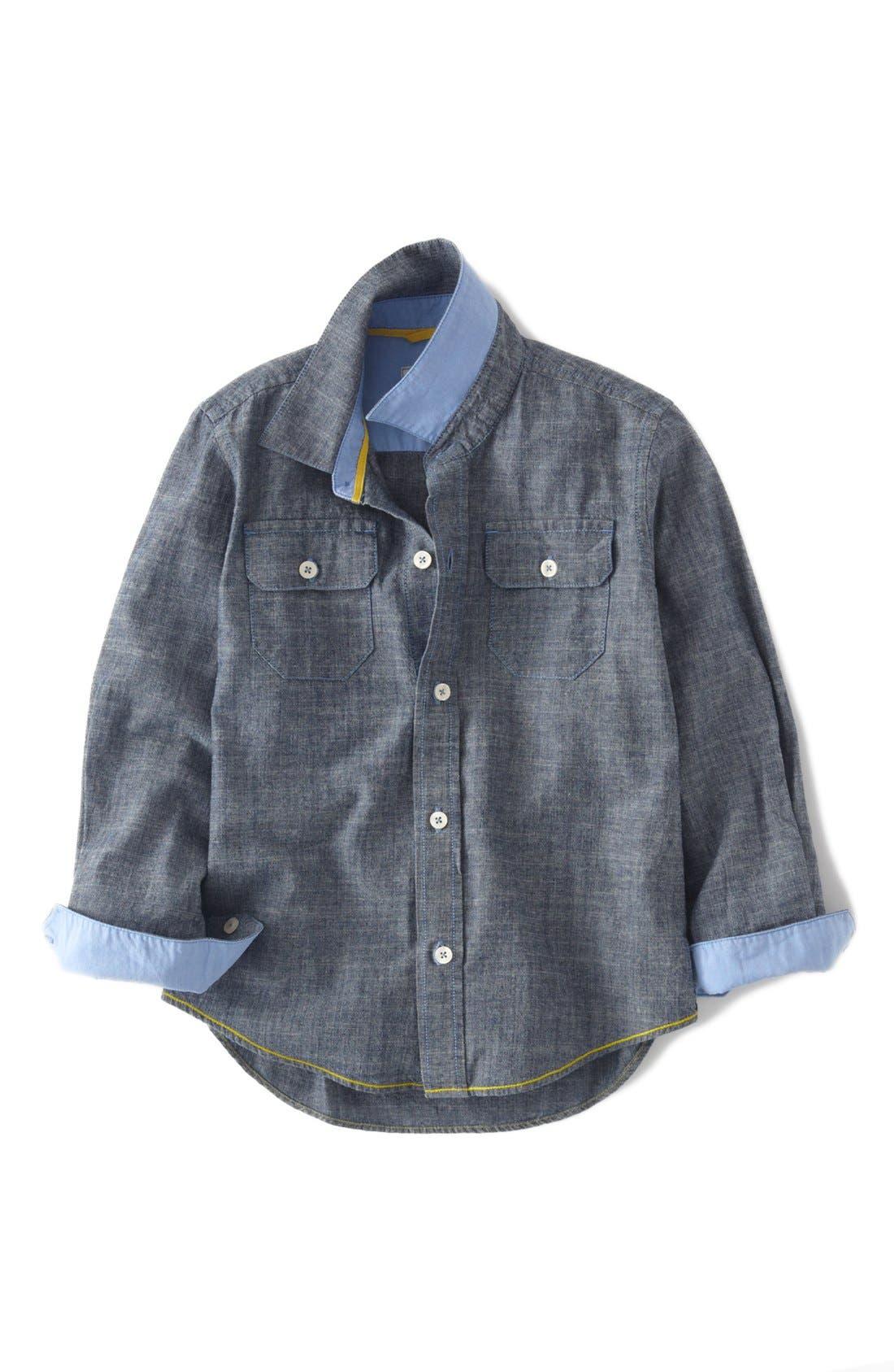 Main Image - Mini Boden Long Sleeve Sport Shirt (Toddler Boys, Little Boys & Big Boys)