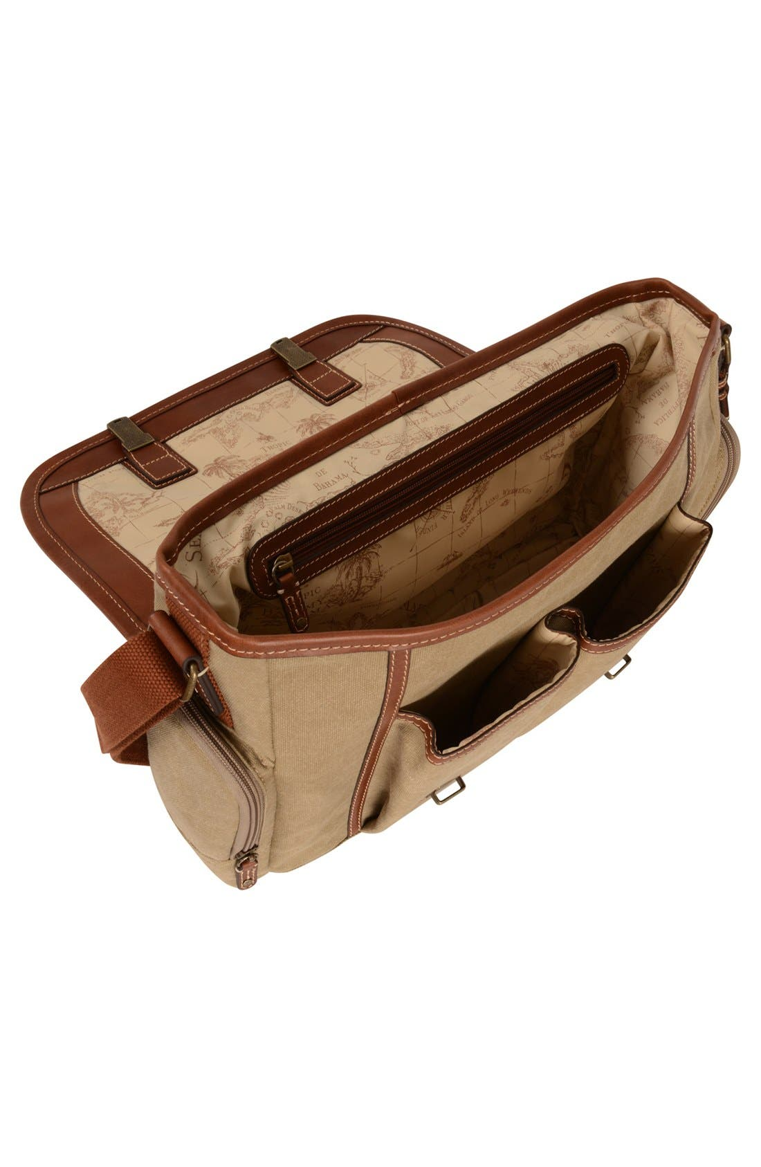 Alternate Image 3  - Tommy Bahama Canvas & Leather Messenger Bag