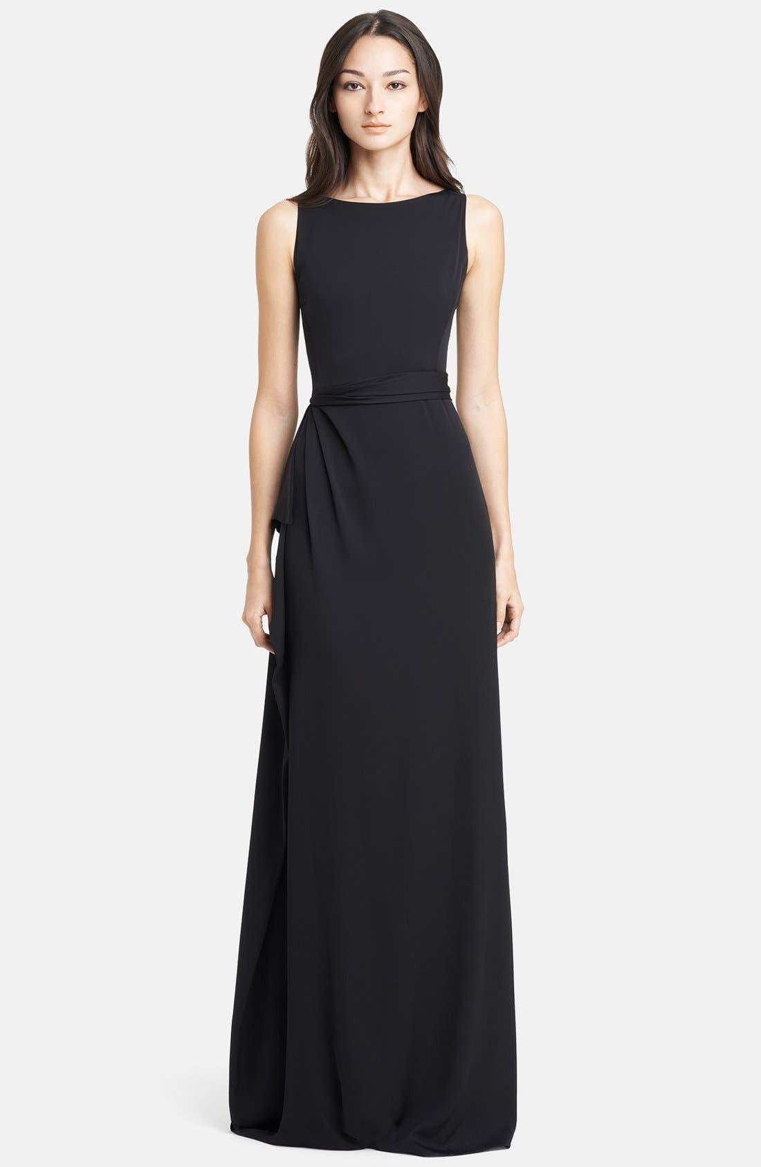Main Image - Armani Collezioni Side Drape Cady Gown