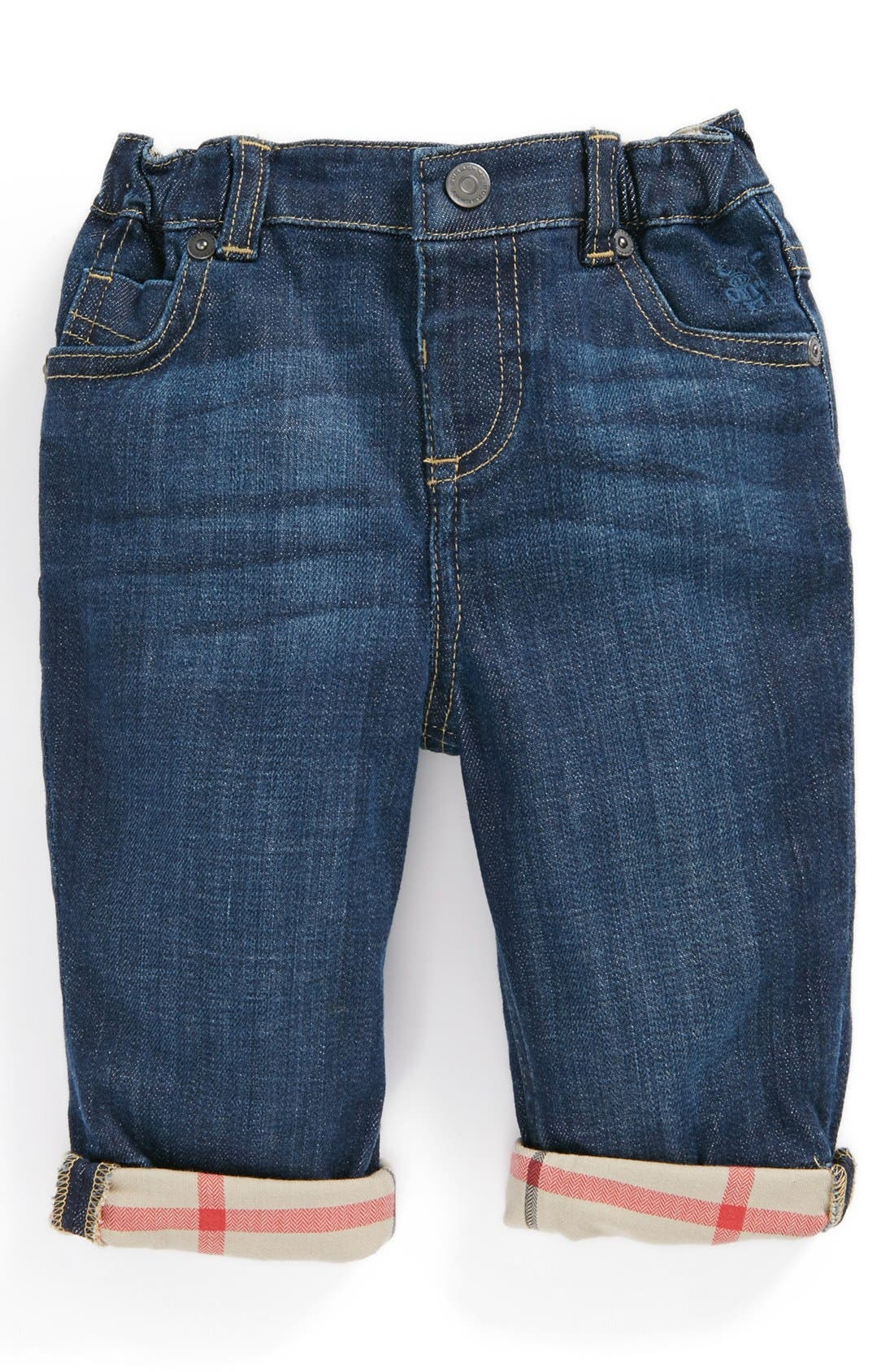 Alternate Image 1 Selected - Burberry Check Lined Jeans (Baby Boys)