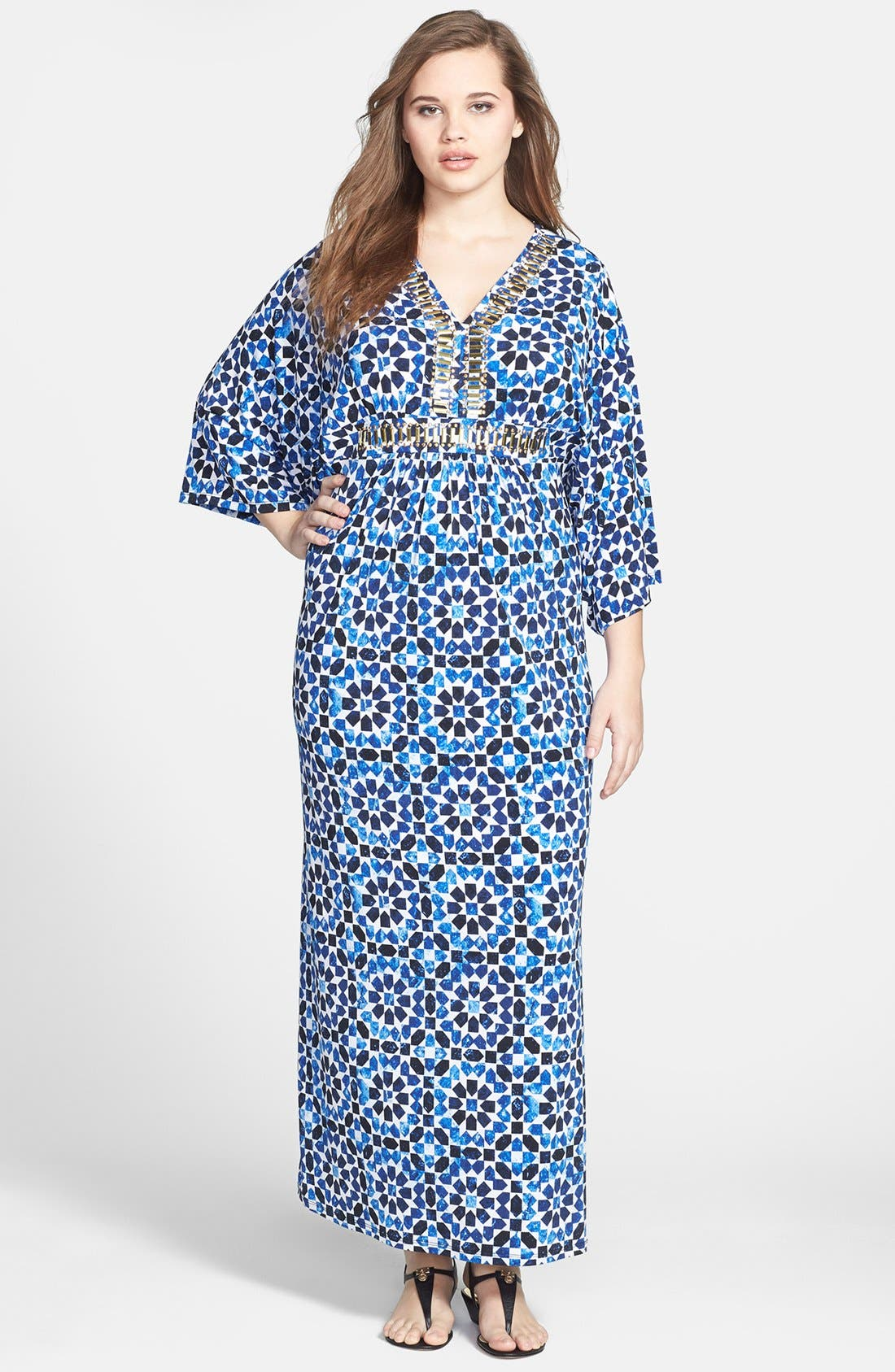Alternate Image 1 Selected - MICHAEL Michael Kors Studded Maxi Dress (Plus Size)