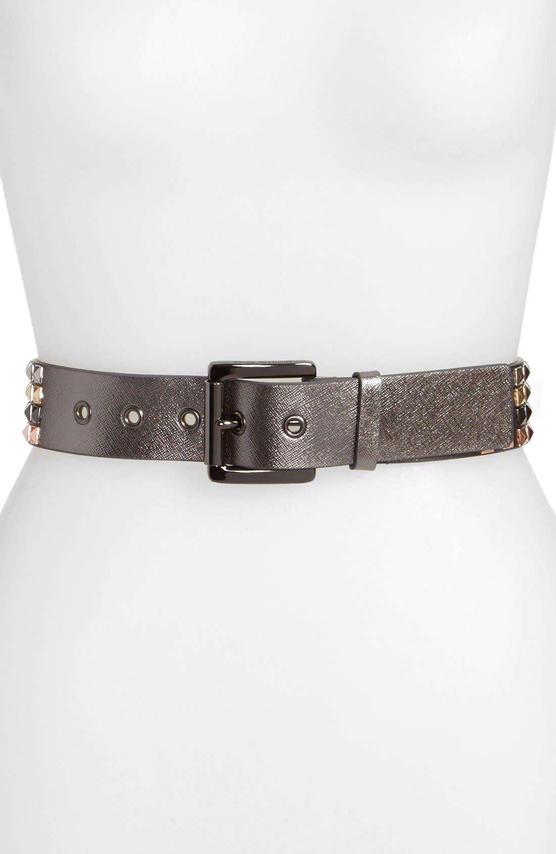 Alternate Image 1 Selected - MICHAEL Michael Kors Pyramid Studded Metallic Saffiano Leather Belt