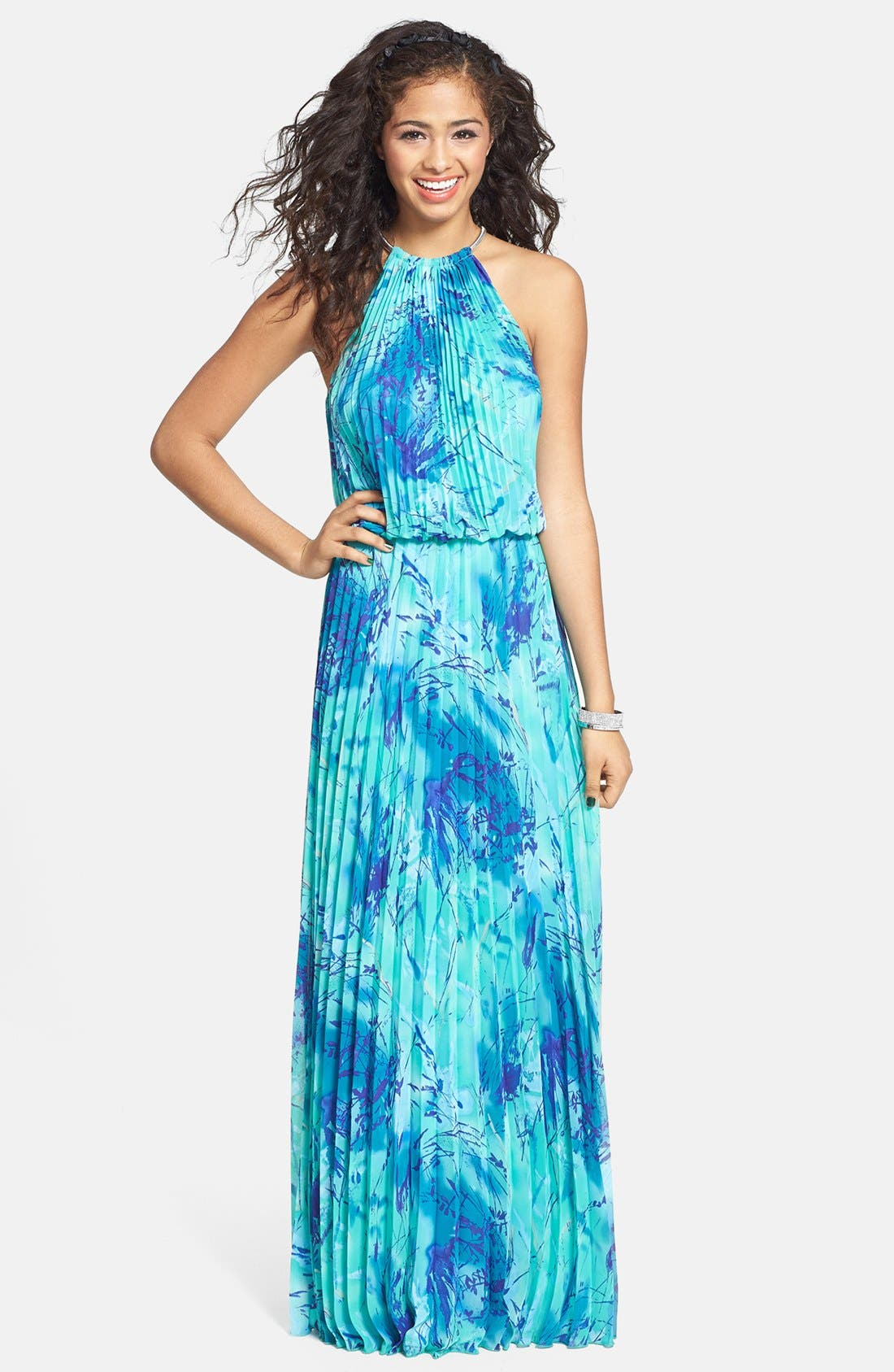Alternate Image 1 Selected - Xscape Print Pleated Blouson Gown