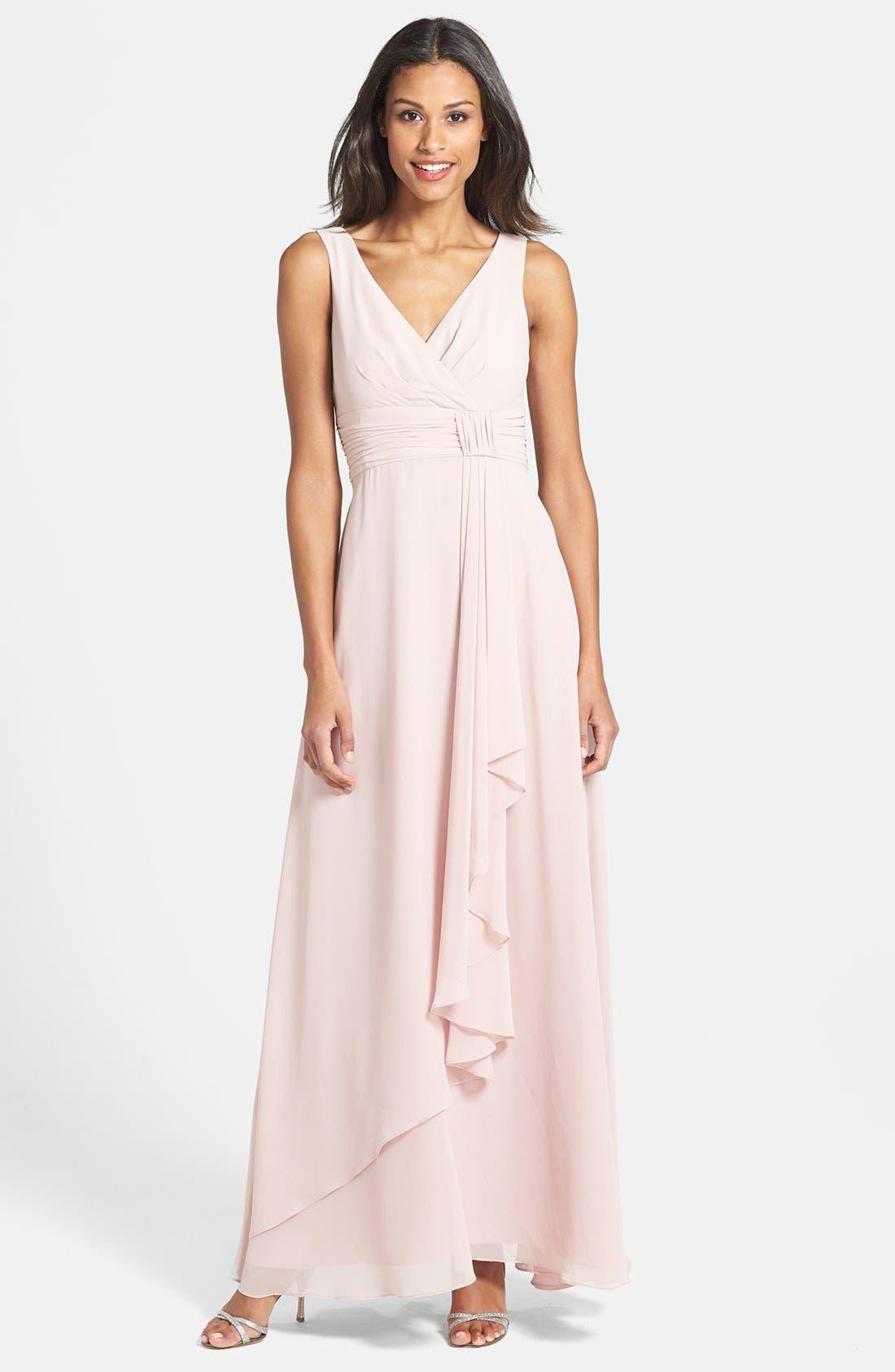 Main Image - Eliza J Front Drape Chiffon Dress