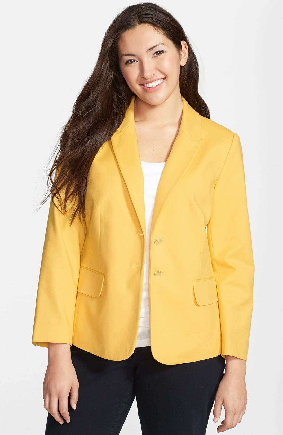 Alternate Image 1 Selected - Vince Camuto Stretch Cotton Blazer (Plus Size)
