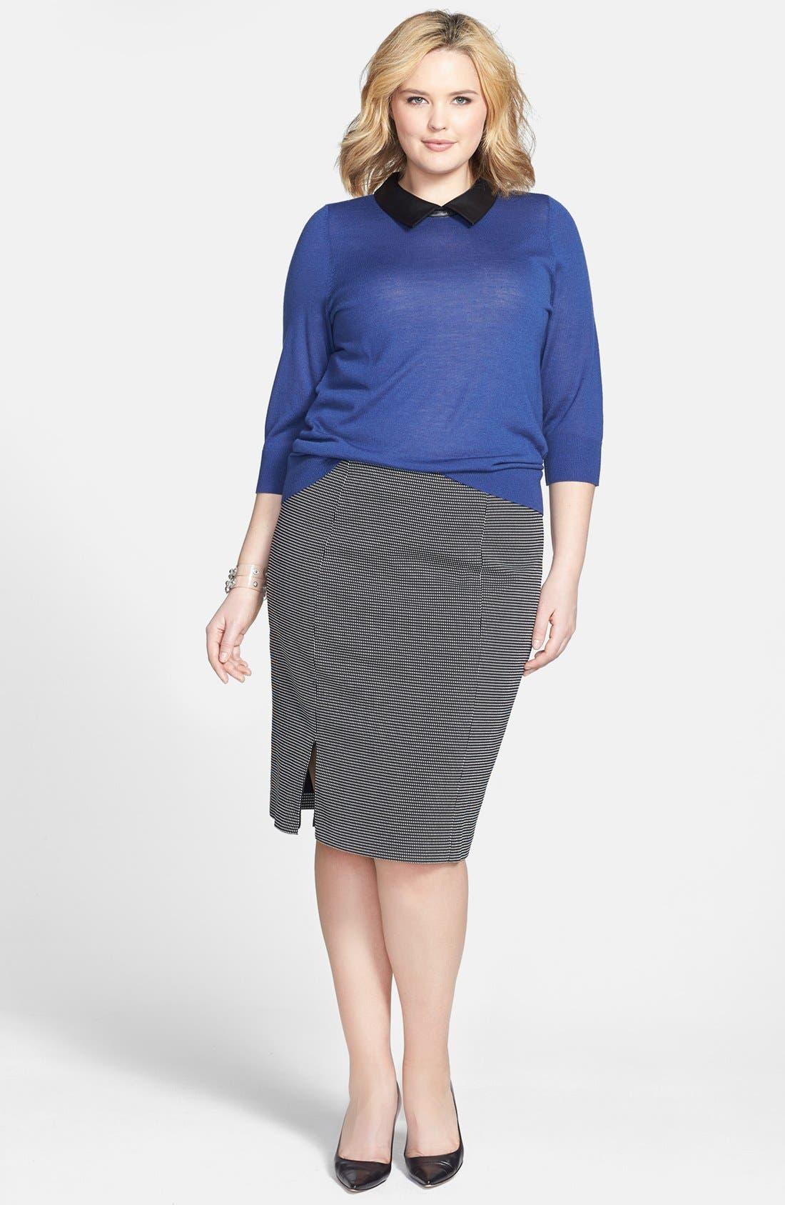 Alternate Image 5  - Sejour Faux Leather Collar Sweater (Plus Size)