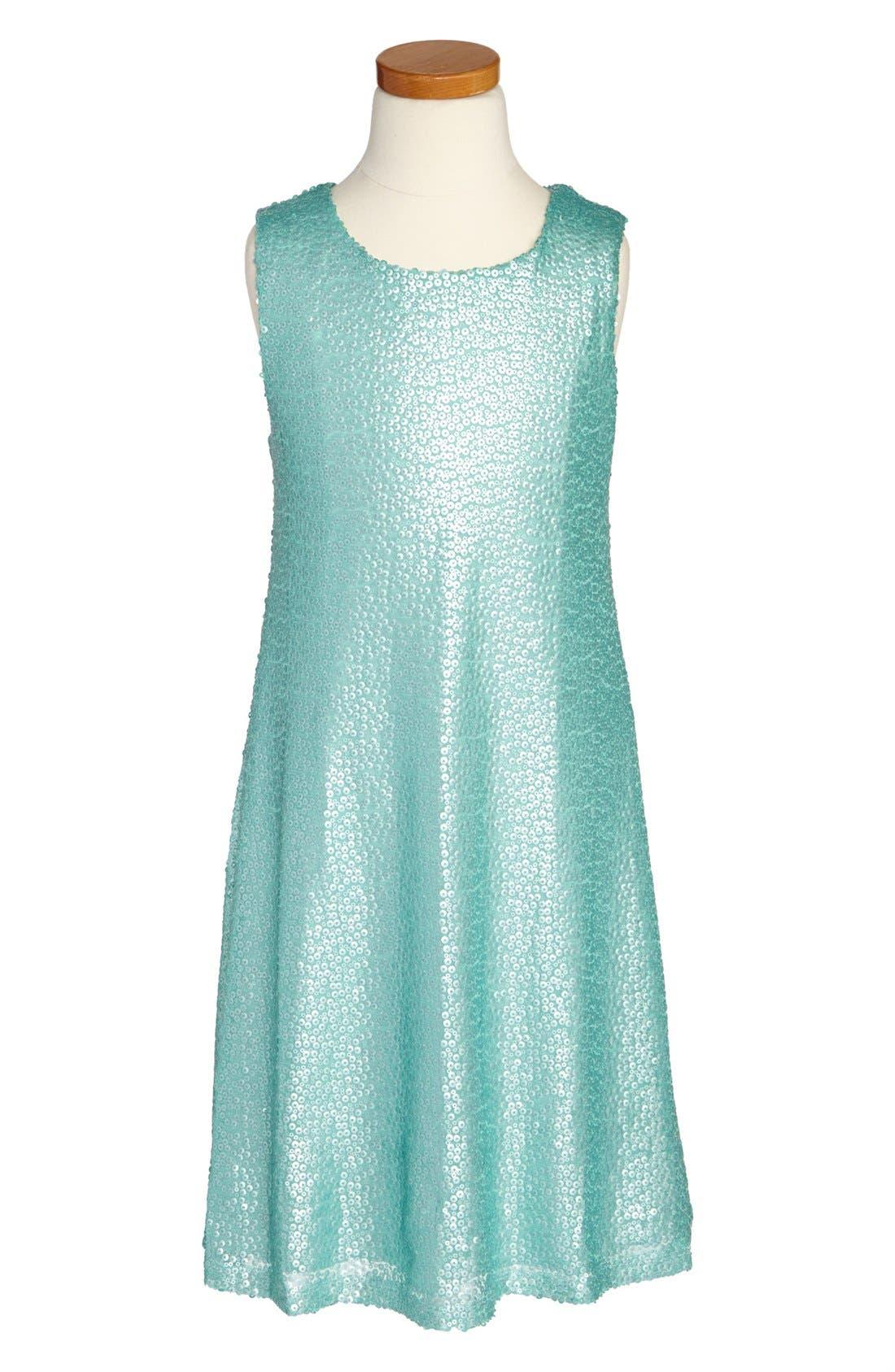 Alternate Image 1 Selected - Zunie Sequin Tank Dress (Big Girls)
