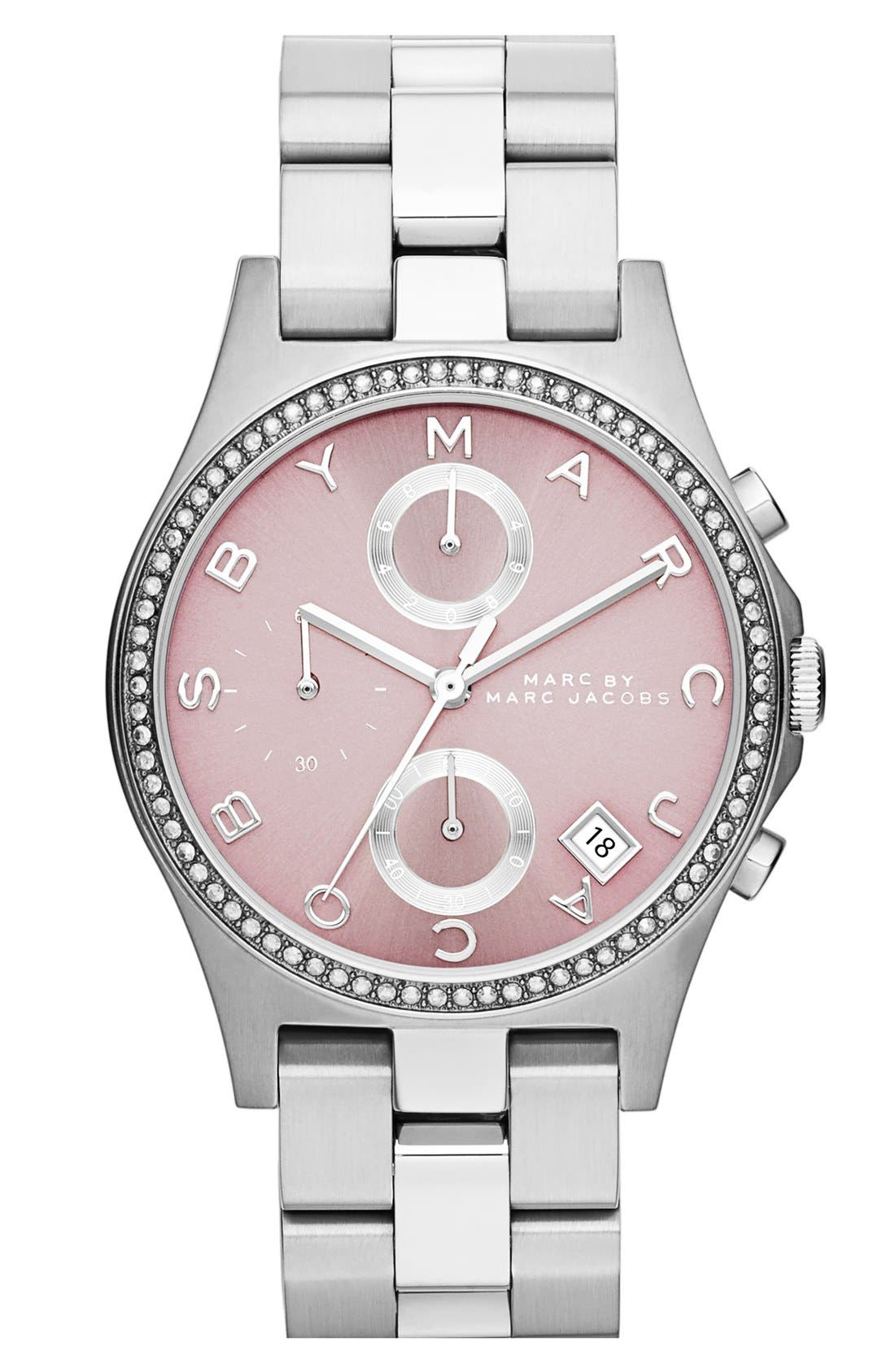 Main Image - MARC BY MARC JACOBS 'Henry Glitz' Chronograph Bracelet Watch, 37mm