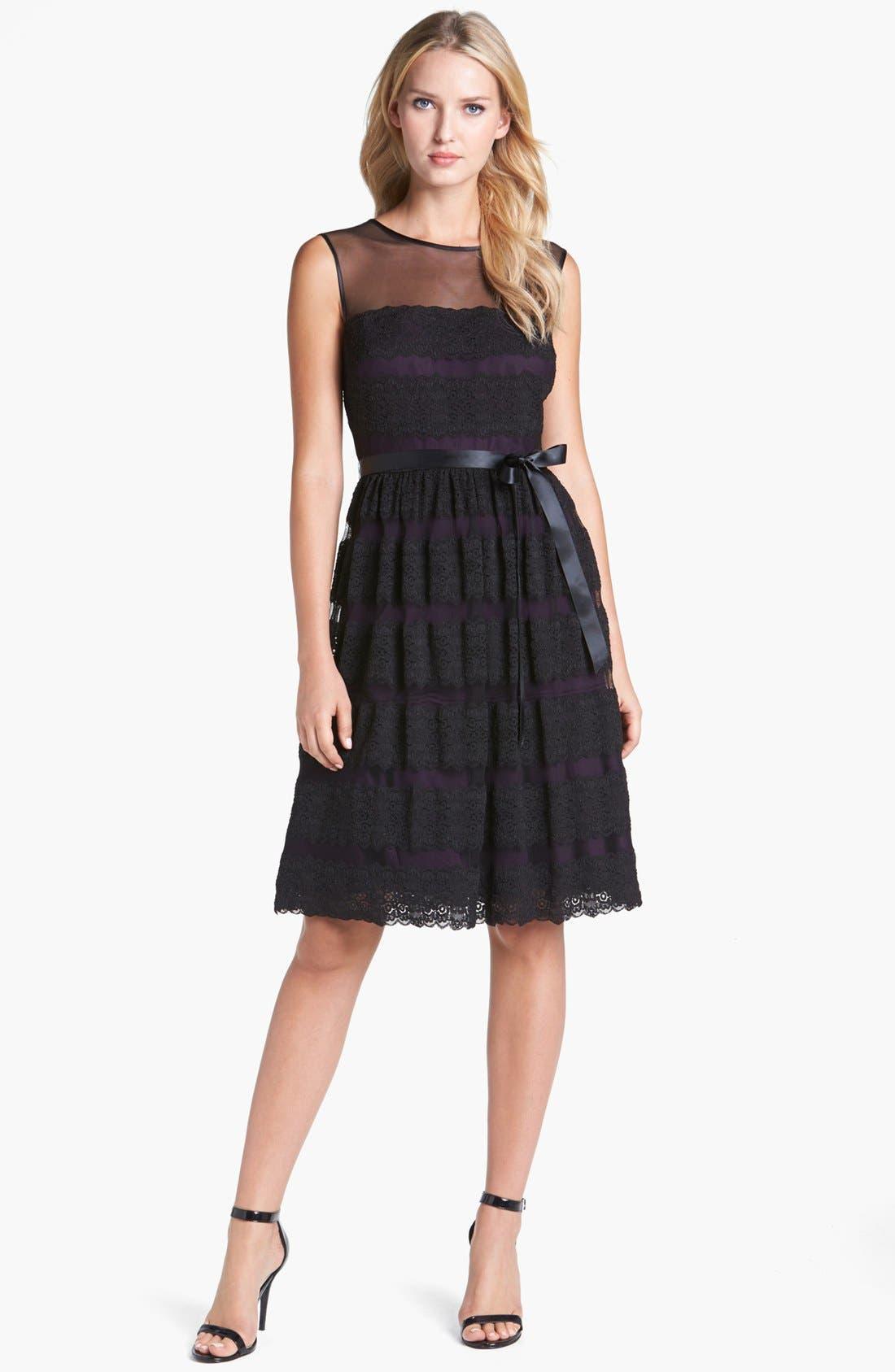 Alternate Image 1 Selected - Alex Evenings Lace Fit & Flare Dress (Petite)