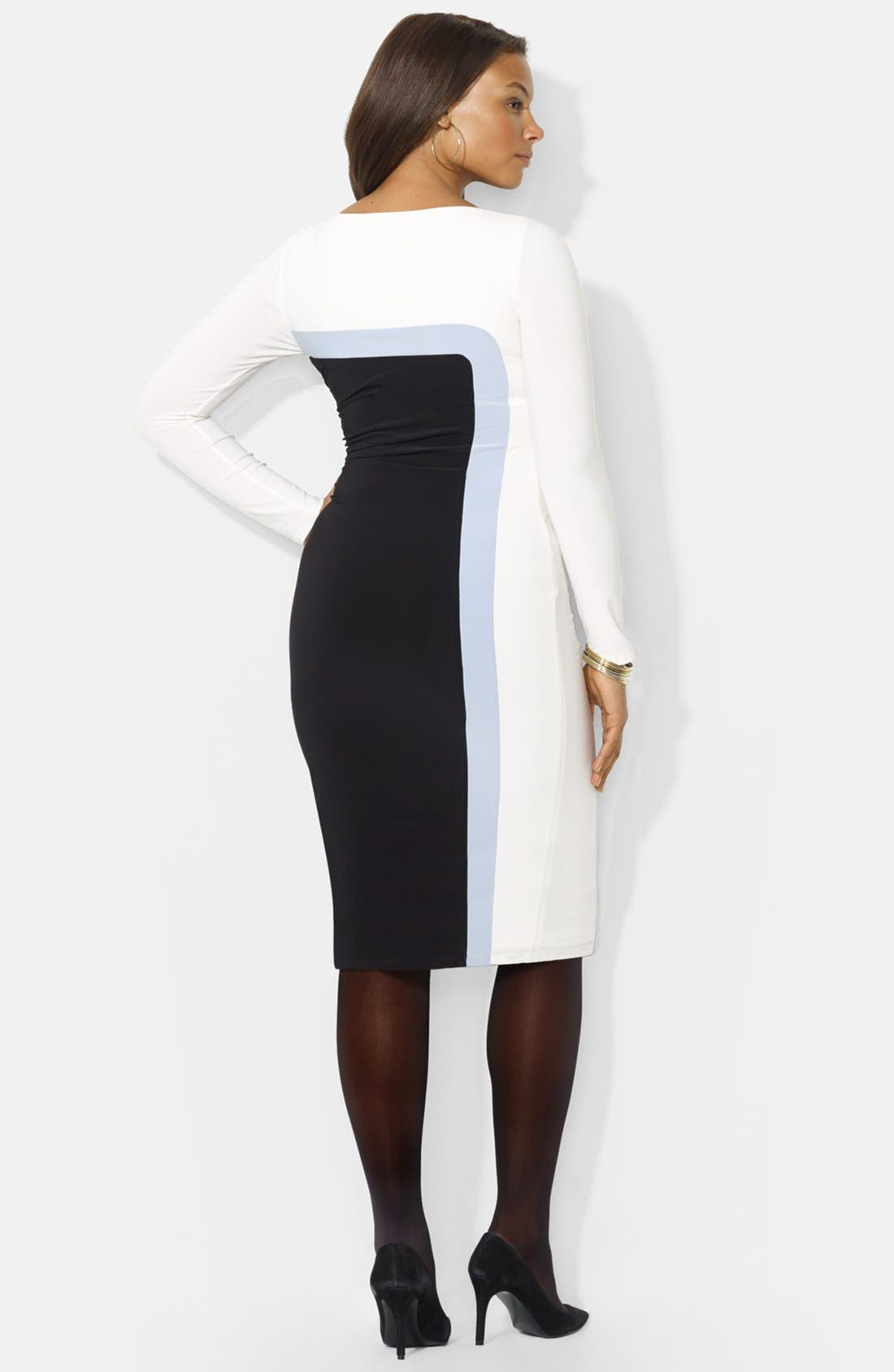 Alternate Image 2  - Lauren Ralph Lauren Colorblock Jersey Sheath Dress (Plus Size)