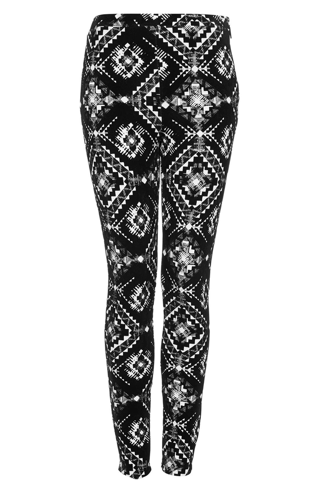 Alternate Image 3  - Topshop Flocked Folk Print Leggings