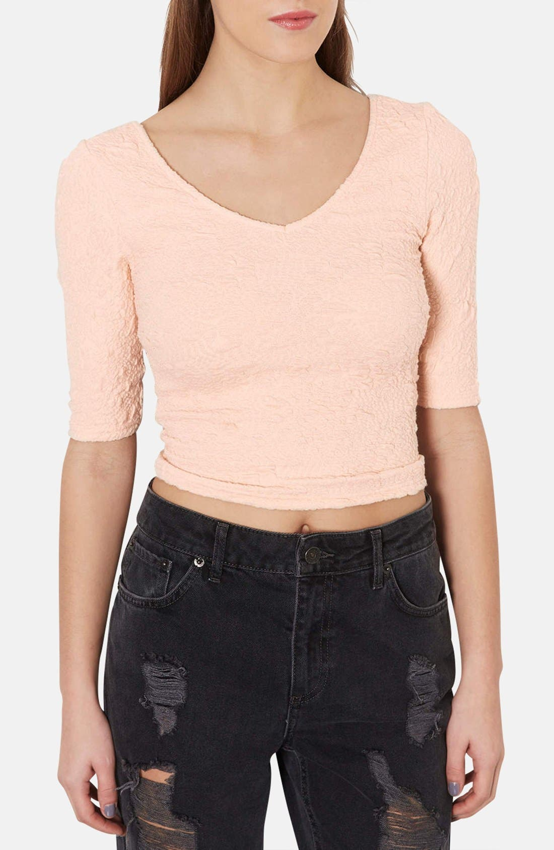 Main Image - Topshop Double V-Neck Textured Top