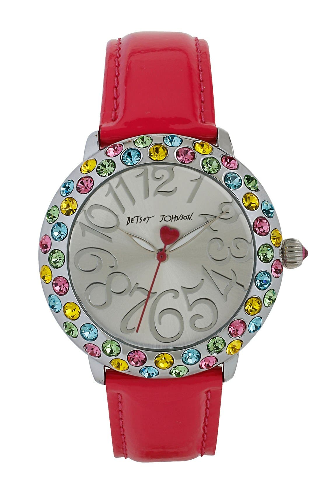 Main Image - Betsey Johnson Multicolor Crystal Bezel Leather Strap Watch, 38mm