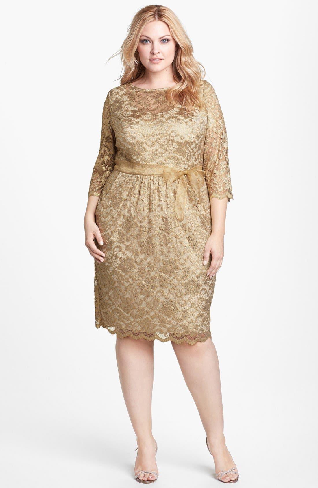 Main Image - Alex Evenings Metallic Lace Dress (Plus Size)