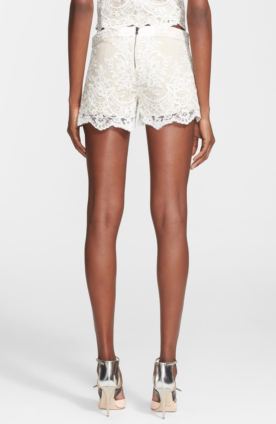 Alternate Image 2  - Alice + Olivia High Waist Lace Shorts