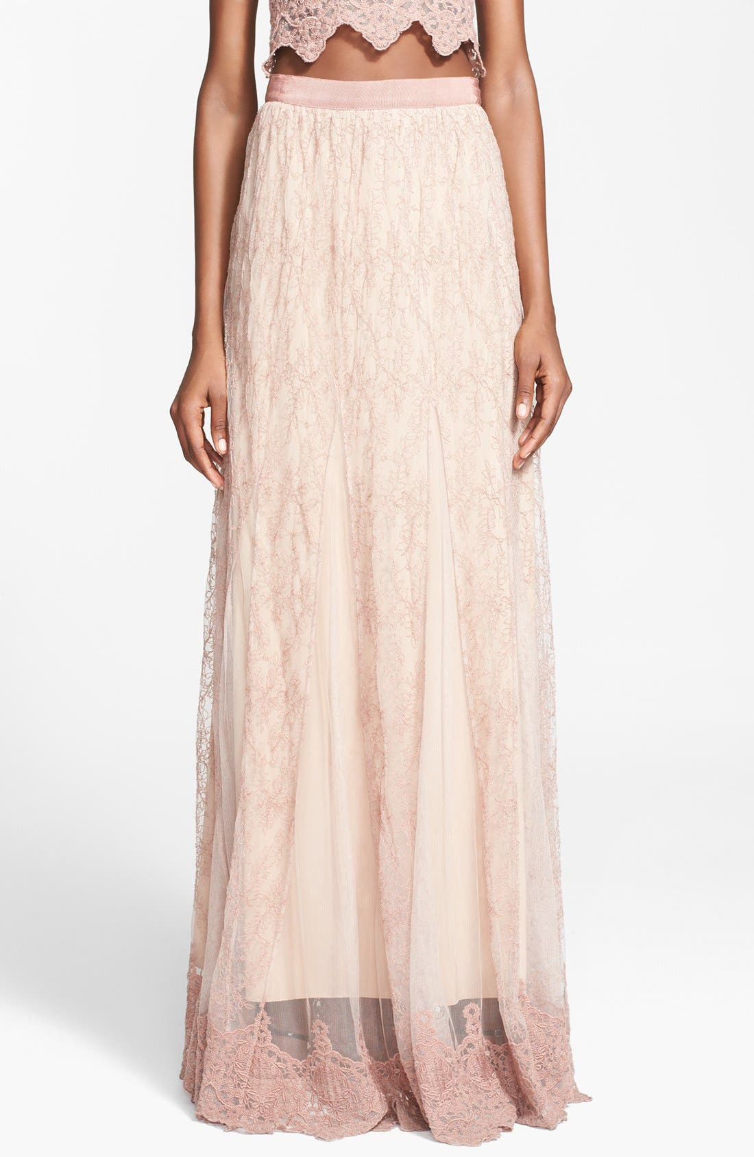 Main Image - Alice + Olivia 'Louie' Embroidered Maxi Skirt