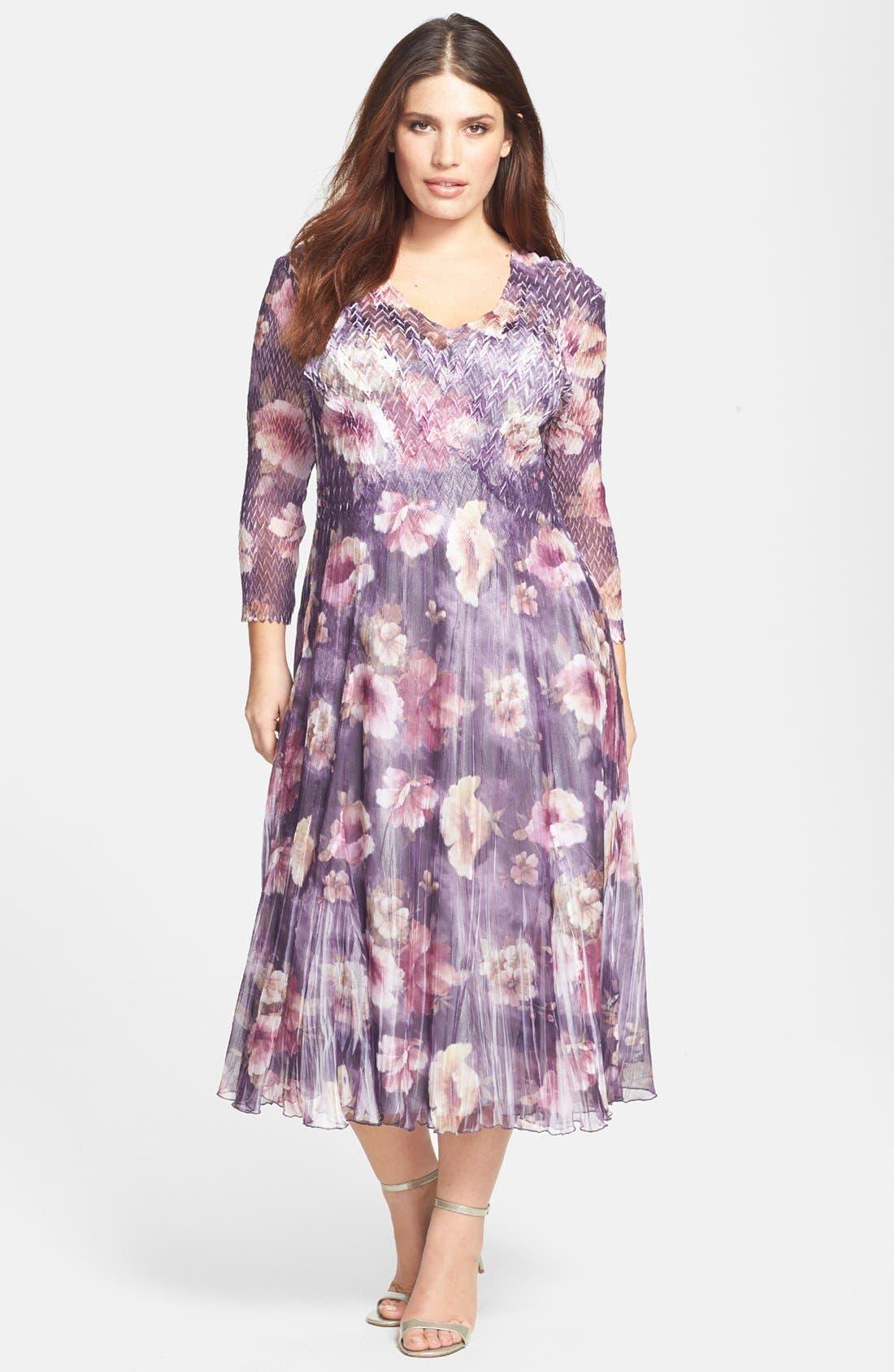 Alternate Image 1 Selected - Komarov Floral Print Charmeuse Dress (Plus Size)