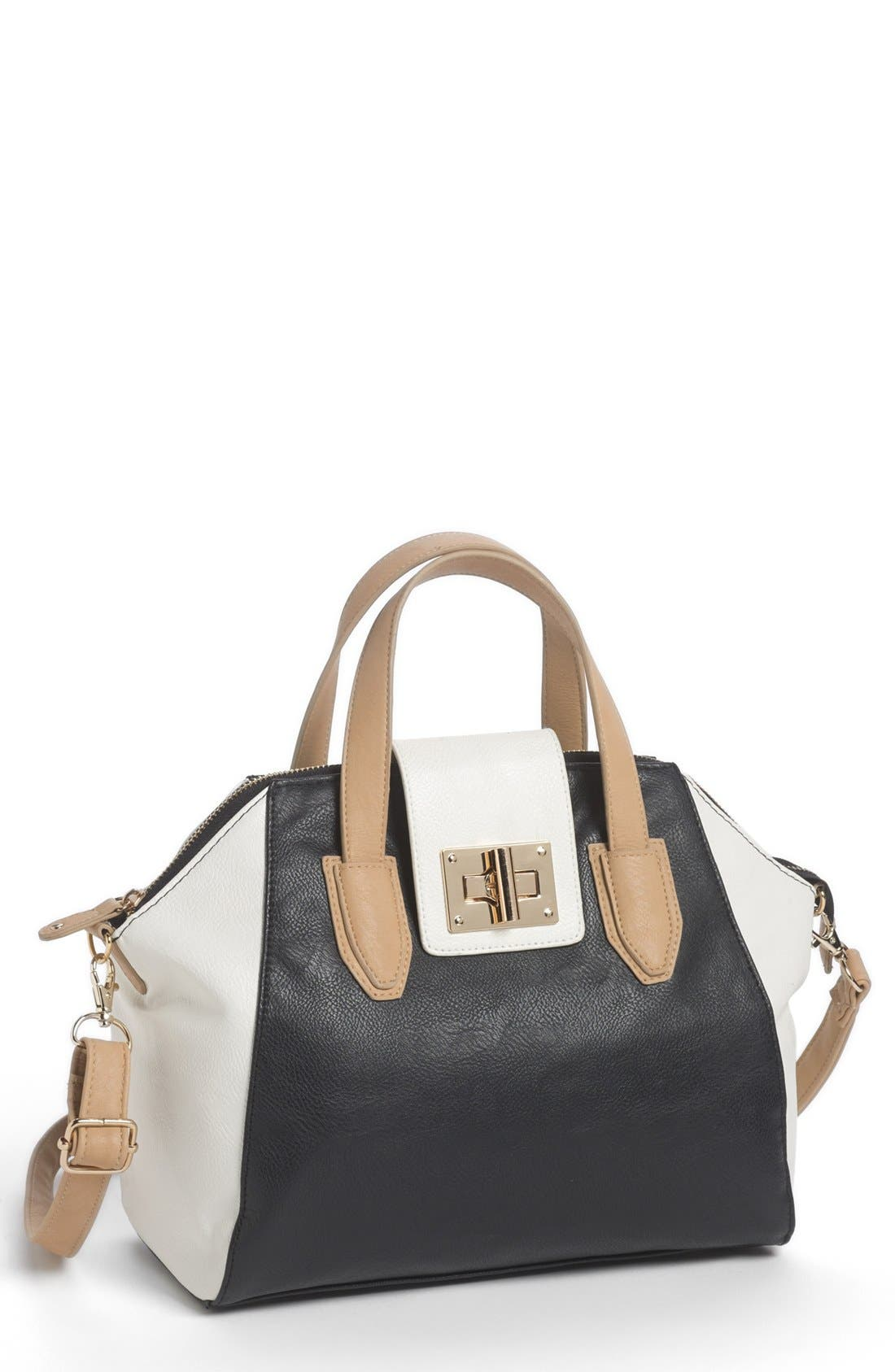 Main Image - Under One Sky Colorblock Bowler Bag (Juniors)