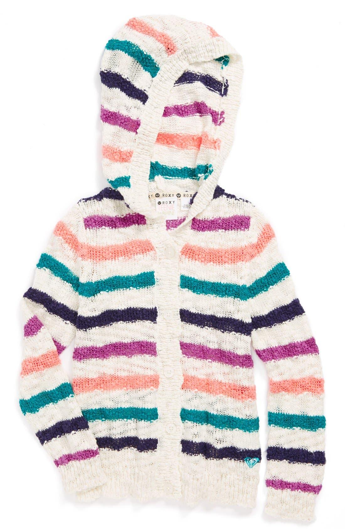 Main Image - Roxy 'Camden' Hooded Sweater (Toddler Girls)