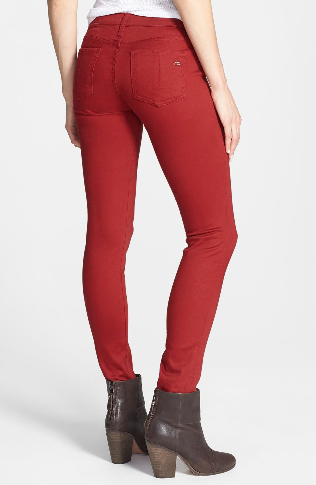 Alternate Image 2  - rag & bone/JEAN 'The Legging' Sateen Skinny Jeans (Red Sateen)