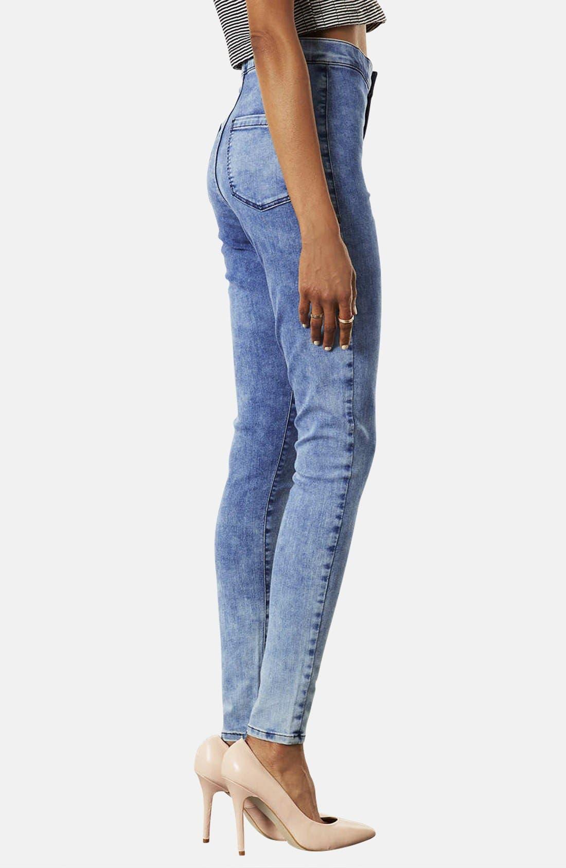 Alternate Image 2  - Topshop Moto 'Joni' High Rise Mottled Skinny Jeans (Short) (Bleach Stone)