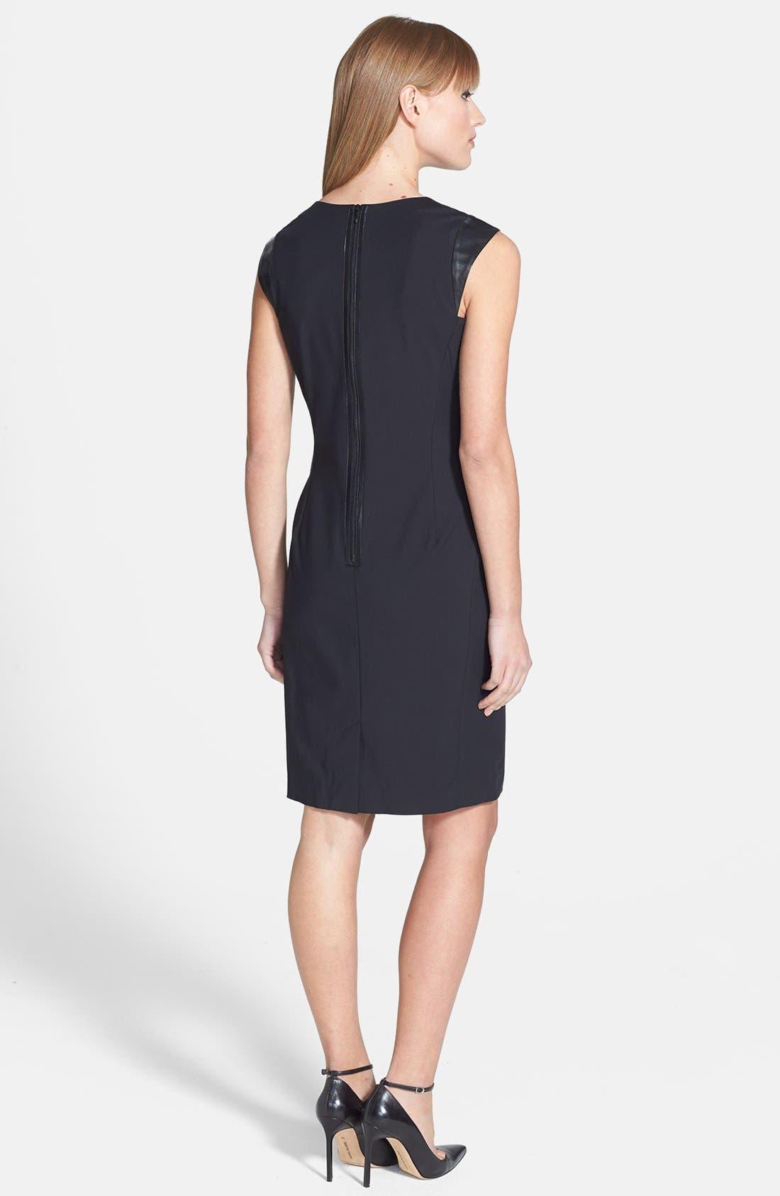 Alternate Image 2  - Lafayette 148 New York 'Zelina' Stretch Dress with Leather Trim (Regular & Petite)