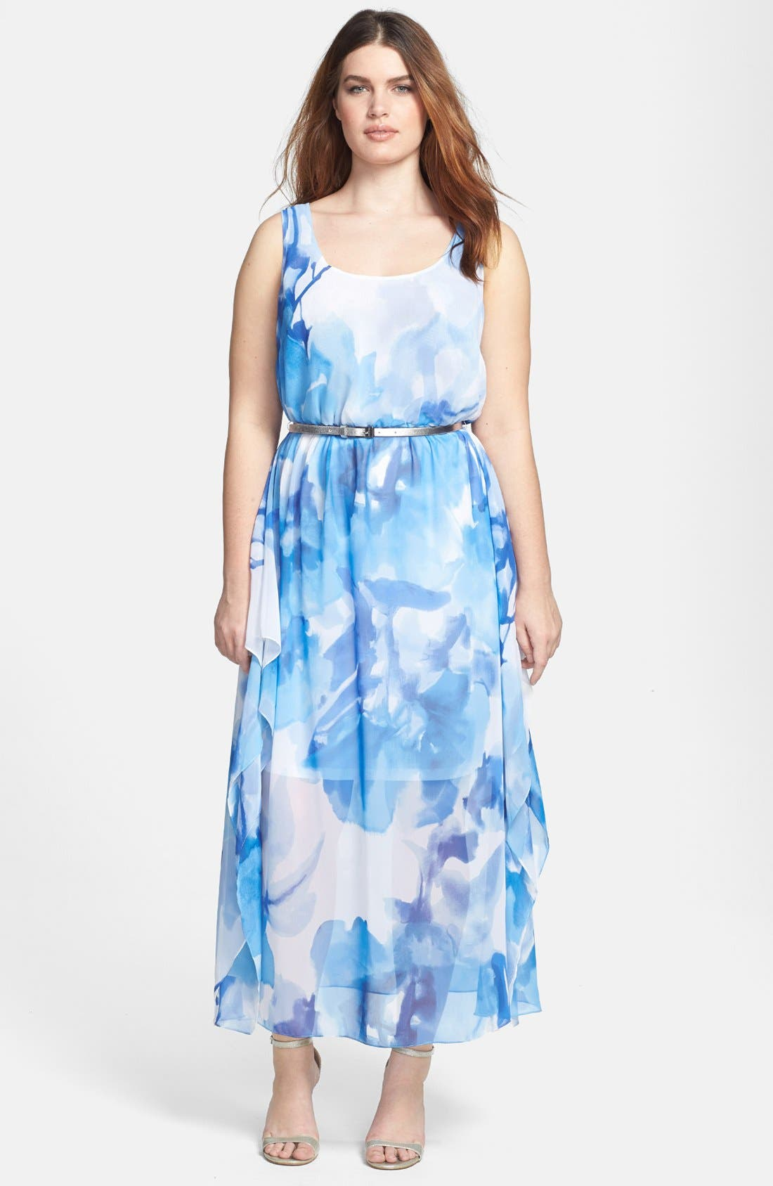 Alternate Image 1 Selected - Calvin Klein Belted Floral Print Chiffon Maxi Dress (Plus Size)
